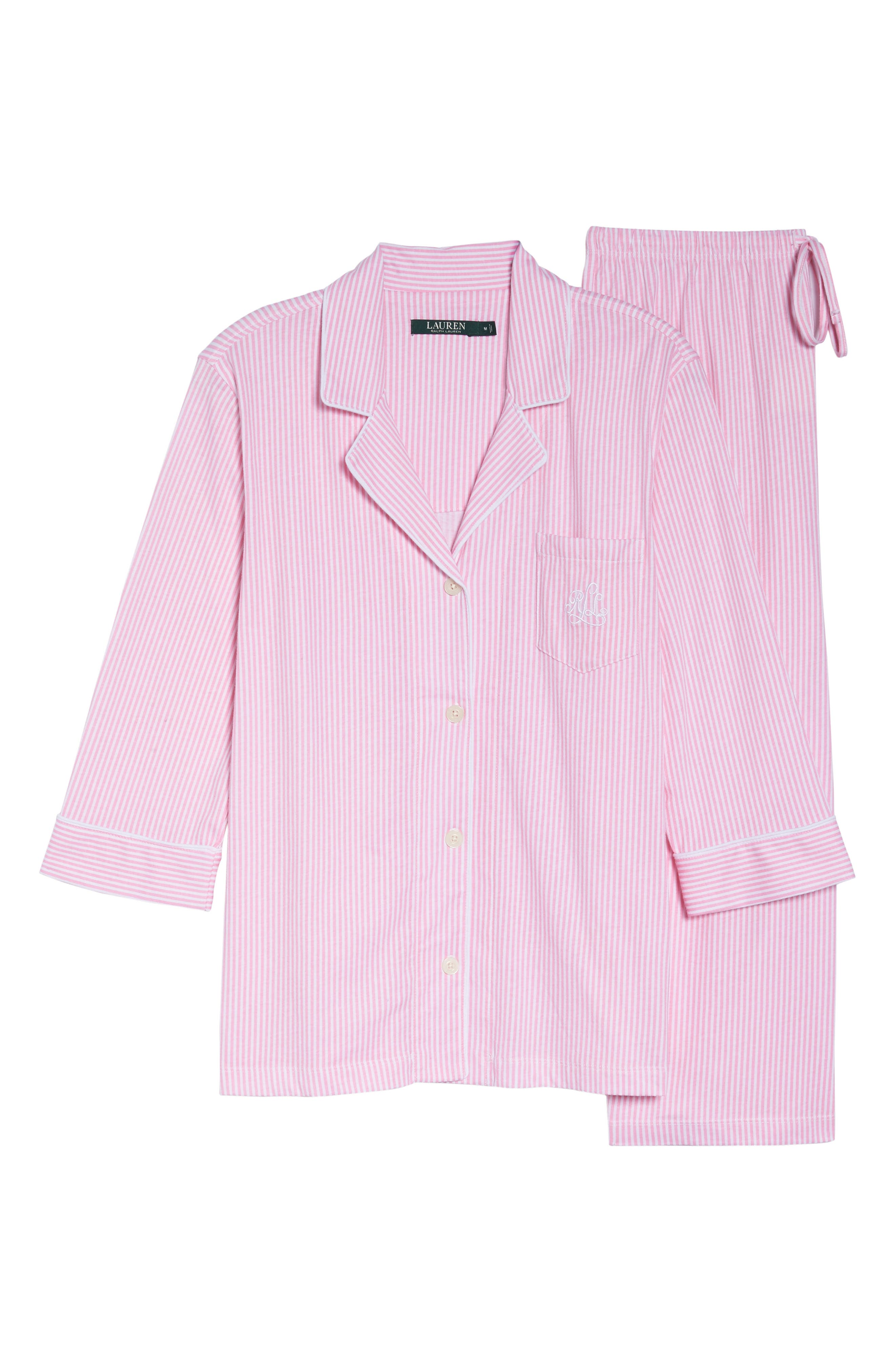 Knit Crop Pajamas,                             Alternate thumbnail 6, color,                             Lagoon Pink/ White Stripe