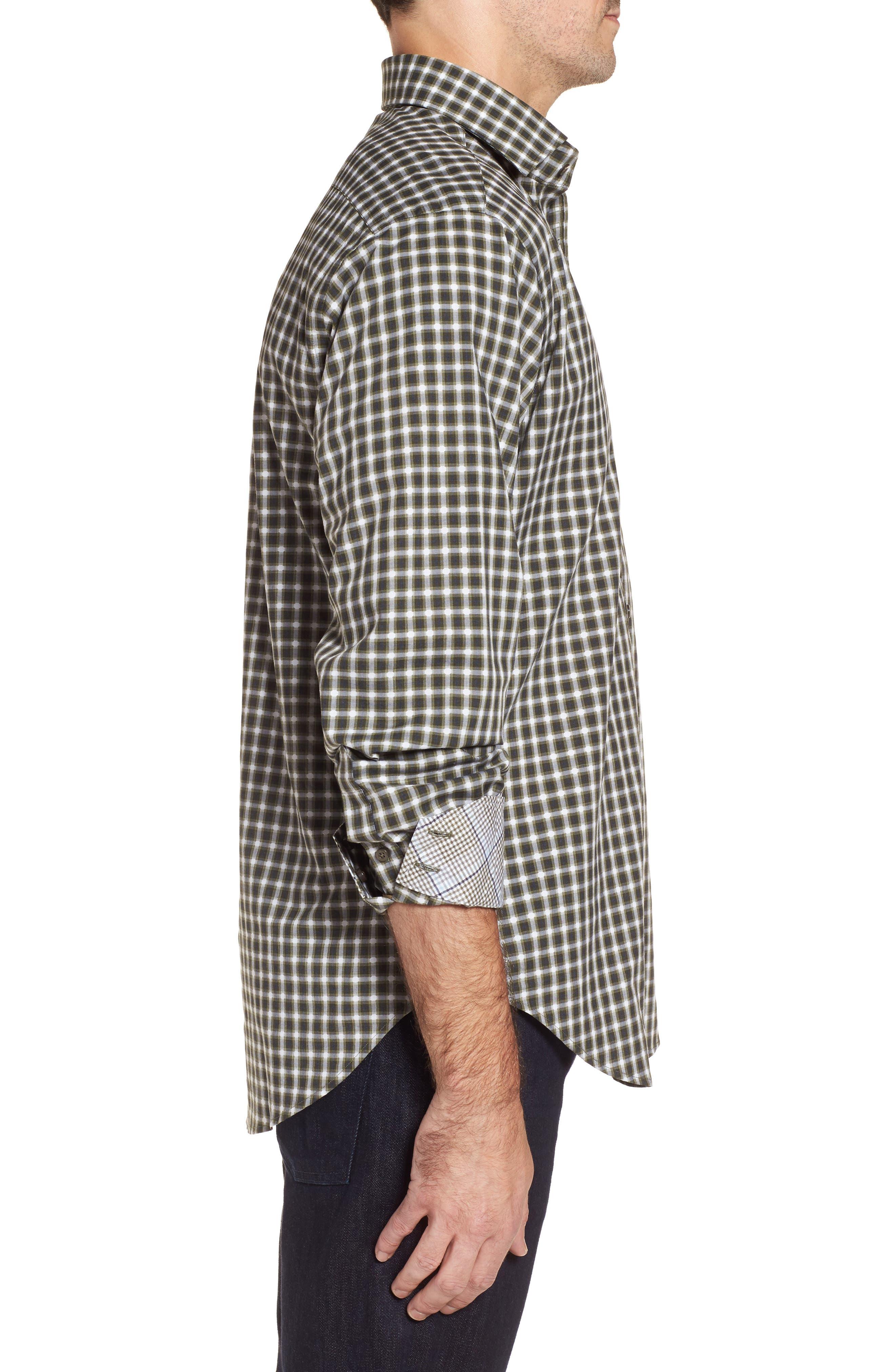 Regular Fit Gradient Check Sport Shirt,                             Alternate thumbnail 3, color,                             Green