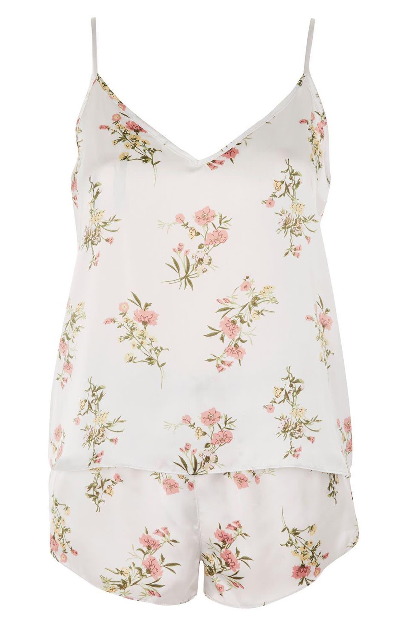Garden Flower Camisole & Short Pajamas,                             Alternate thumbnail 4, color,                             Ivory Mutli