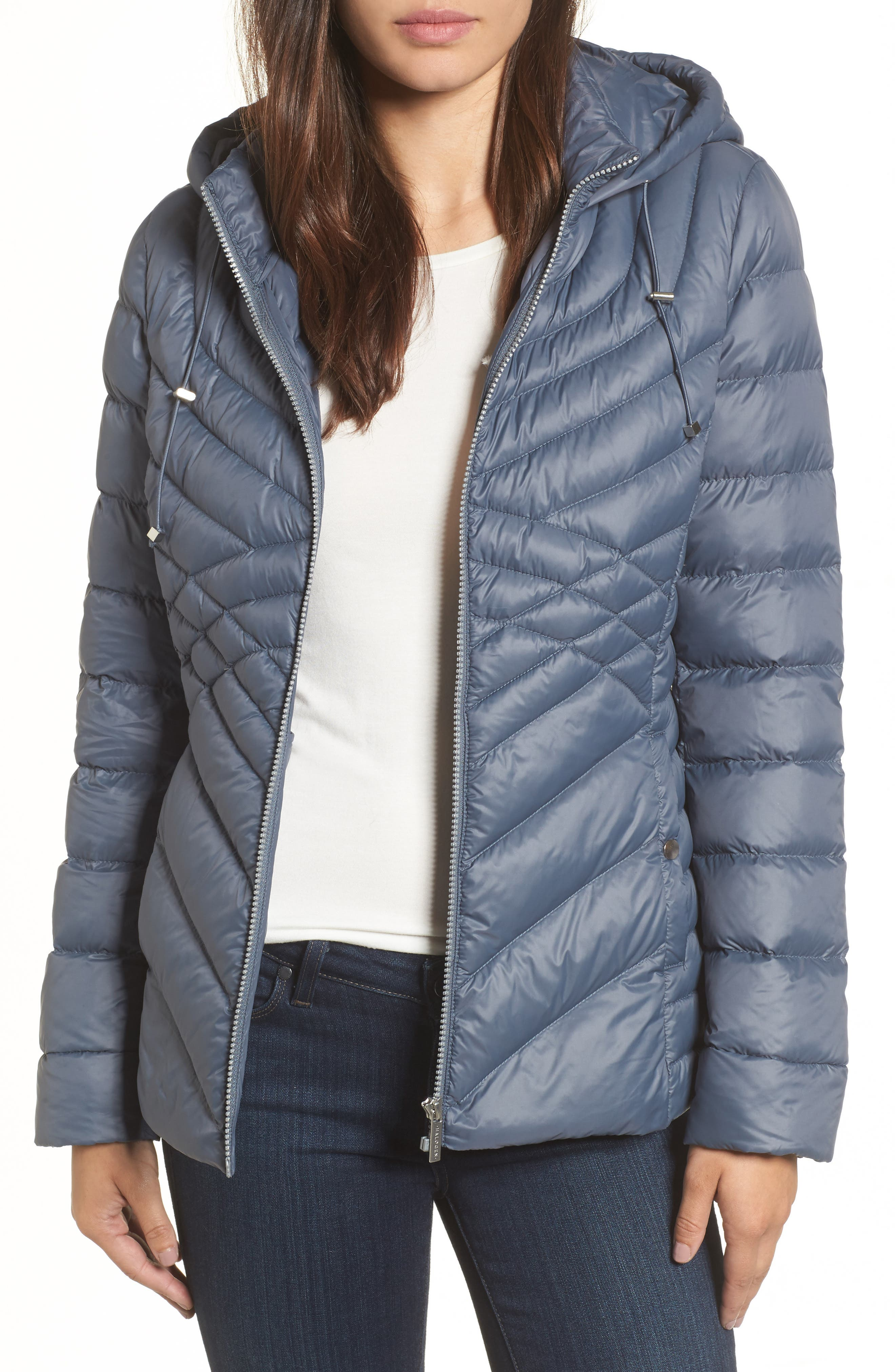 Hooded Down Blend Puffer Jacket,                         Main,                         color, Ice Blue