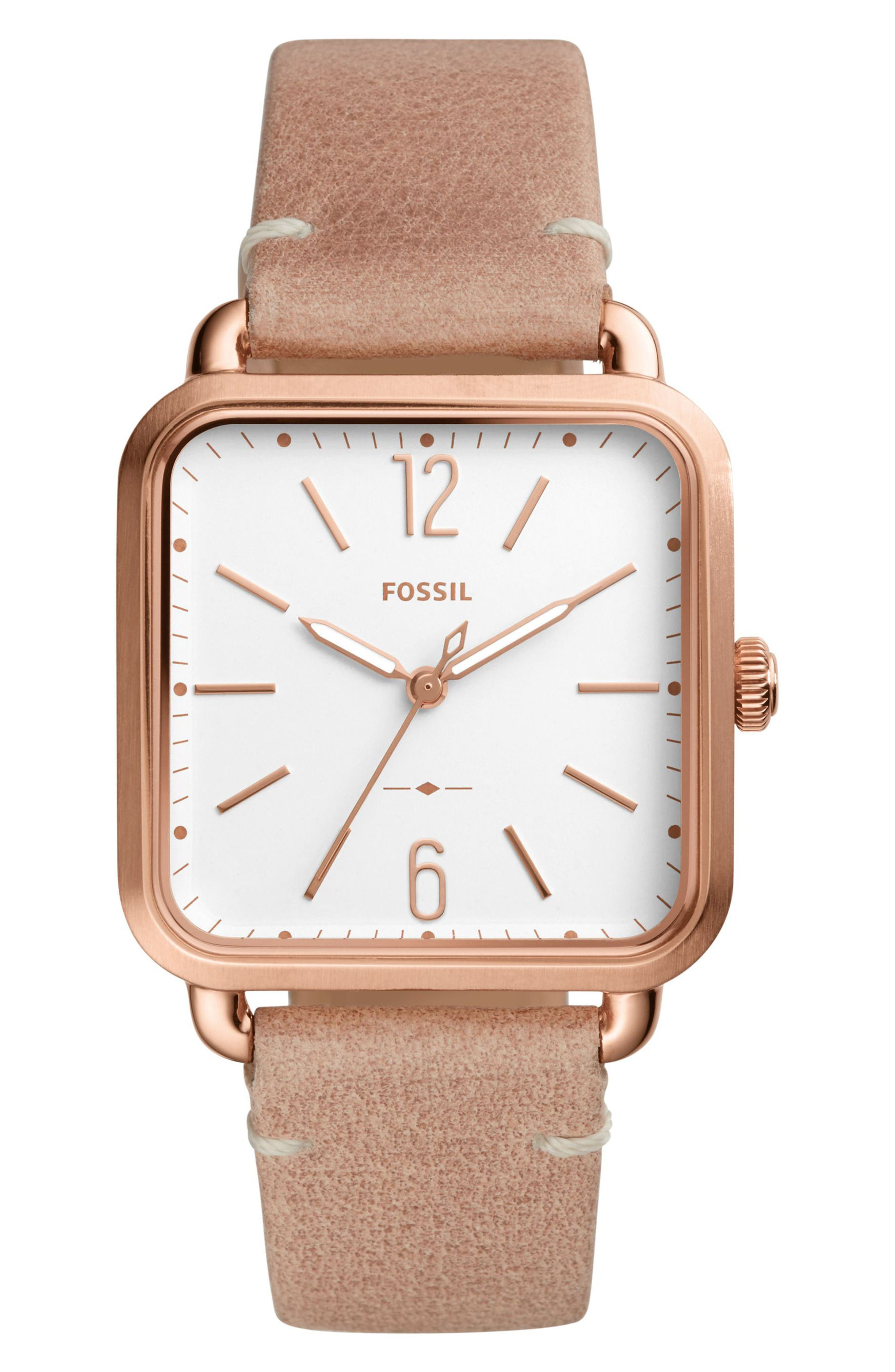 Micah Leather Strap Watch, 32mm x 32mm,                         Main,                         color, Beige/ White/ Rose Gold