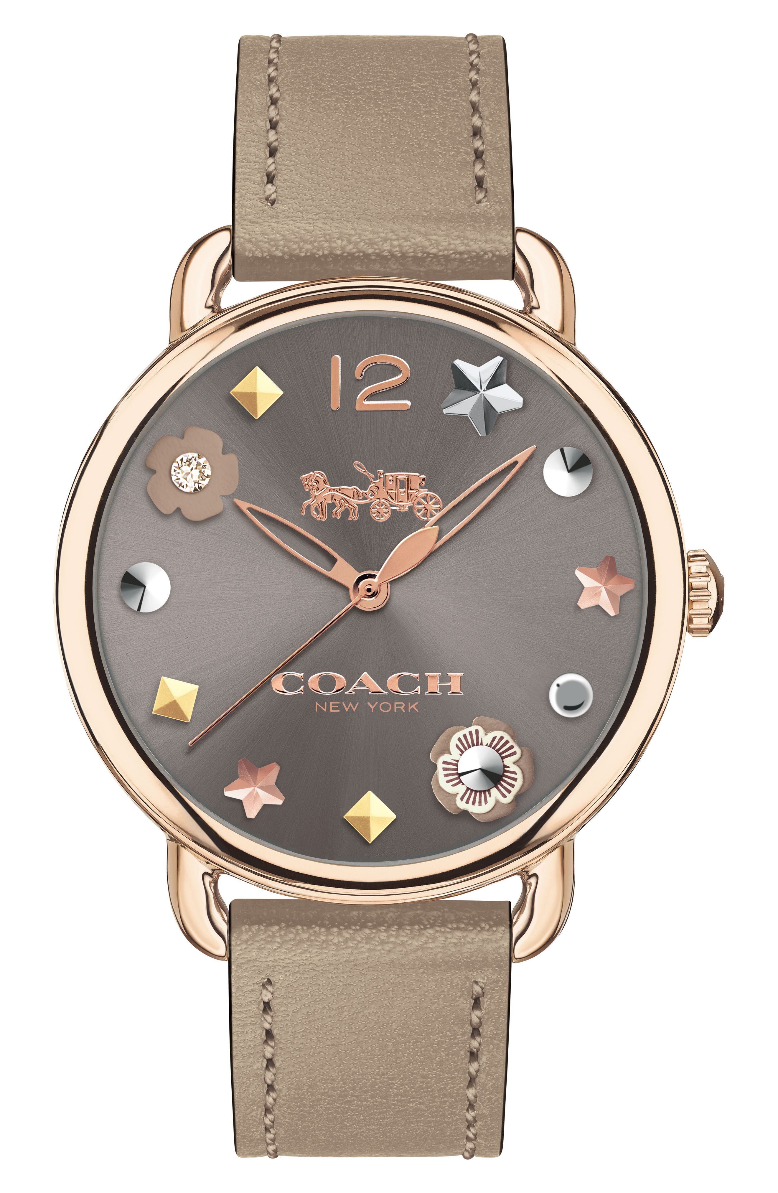 Delancey Leather Strap Watch, 36mm,                         Main,                         color, Grey/ Rose Gold