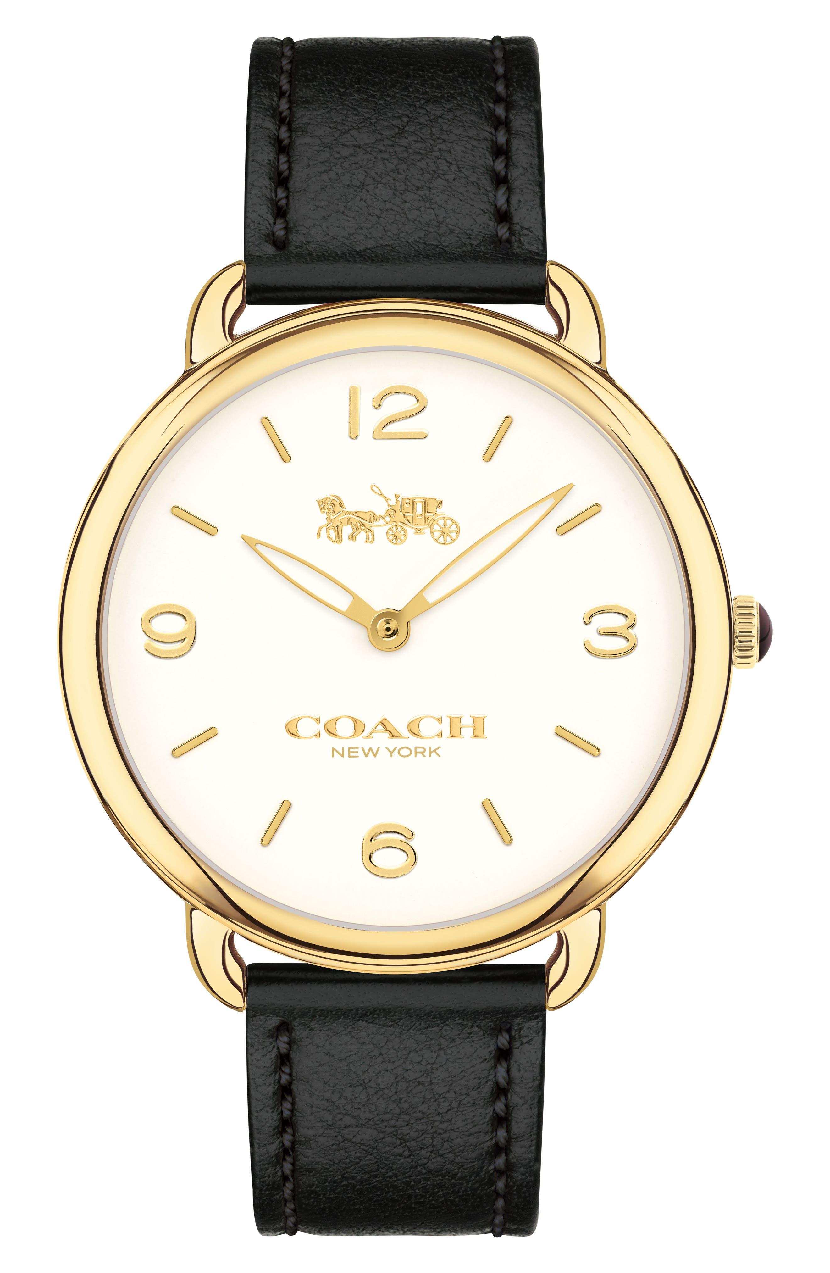Delancey Slim Leather Strap Watch, 36mm,                             Main thumbnail 1, color,                             Black/ White/ Gold