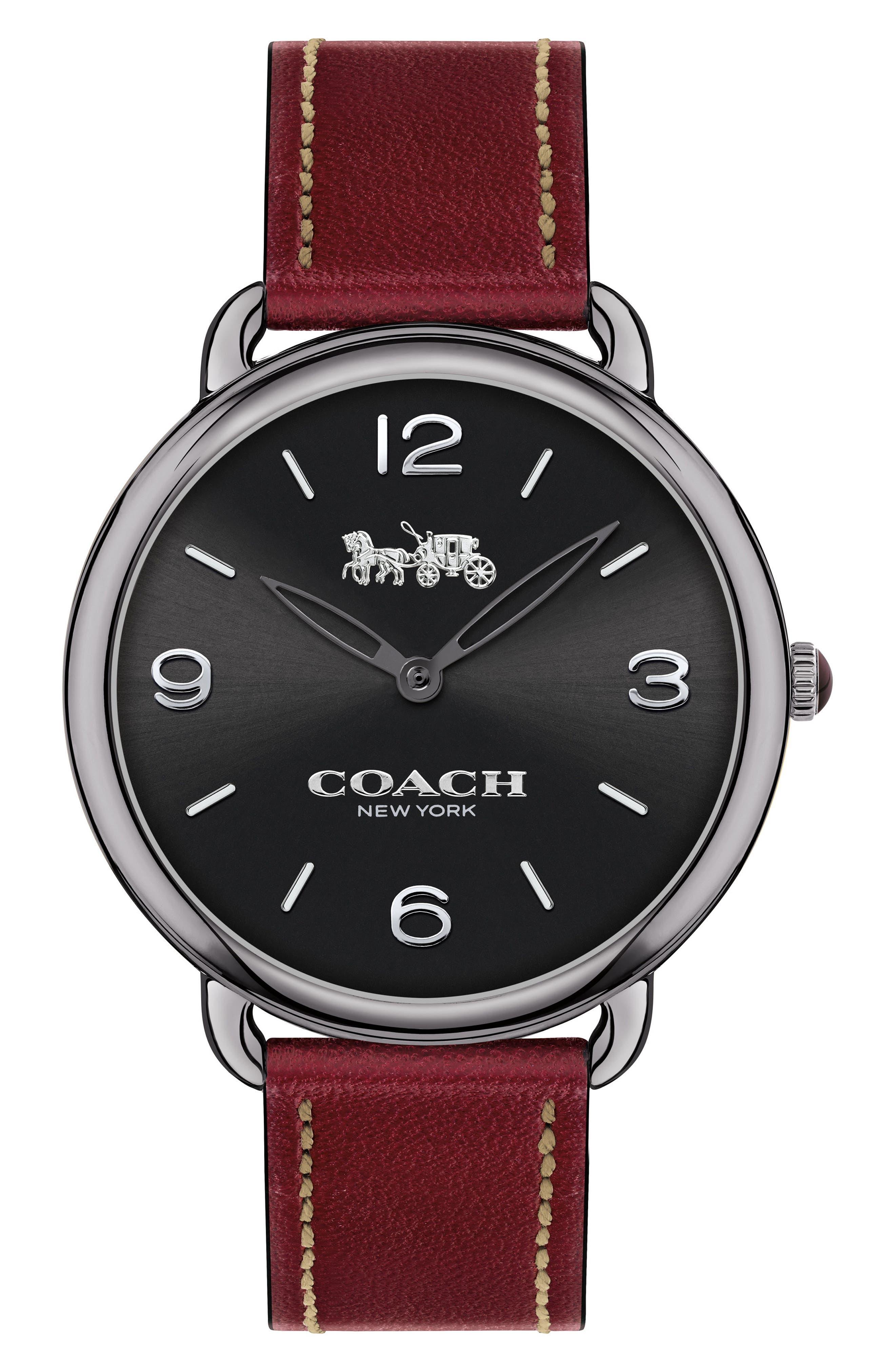 Delancey Slim Leather Strap Watch, 36mm,                         Main,                         color, Burgundy/ Black/ Gunmetal