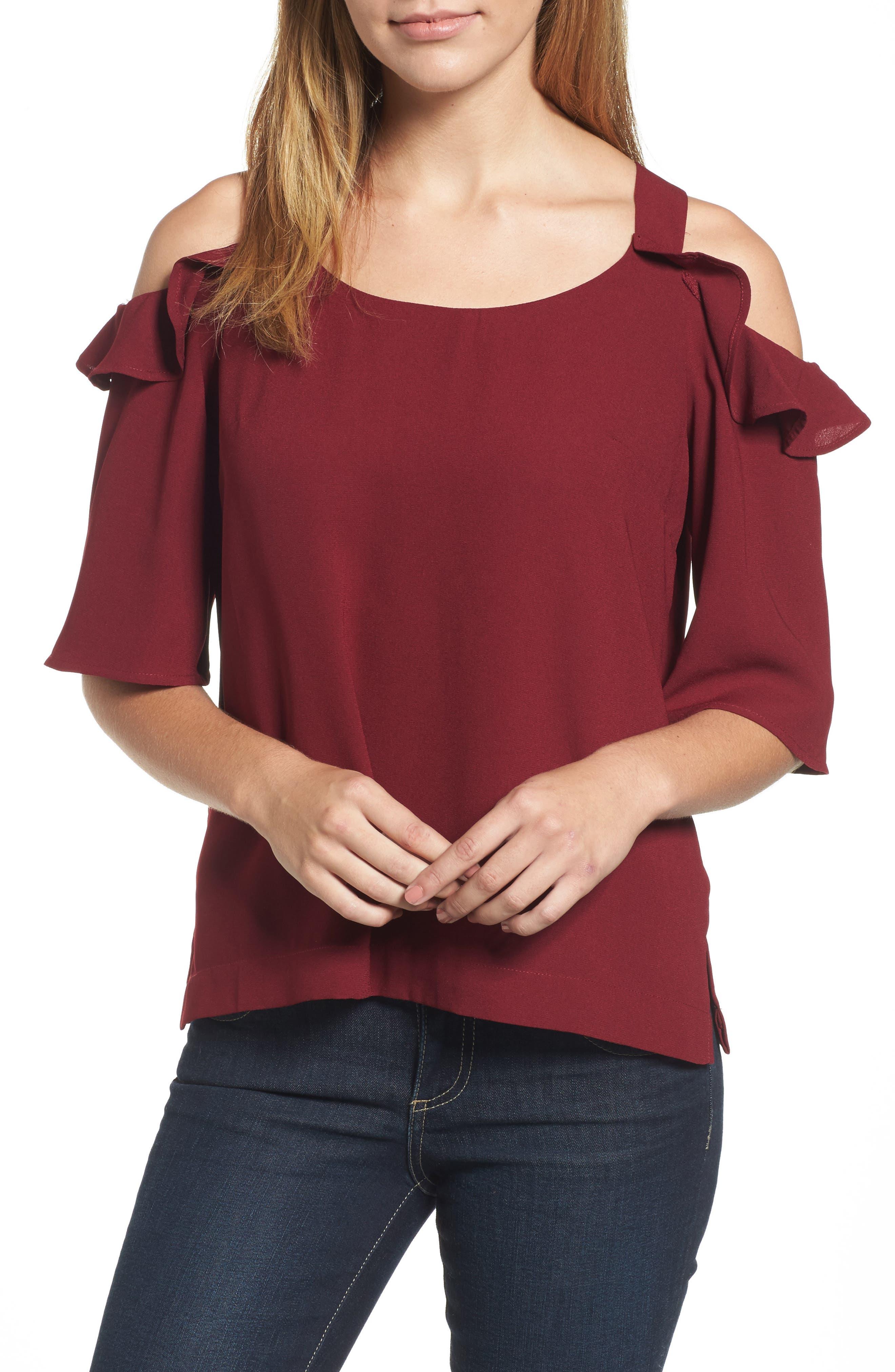 Akane Cold Shoulder Top,                         Main,                         color, Cranberry