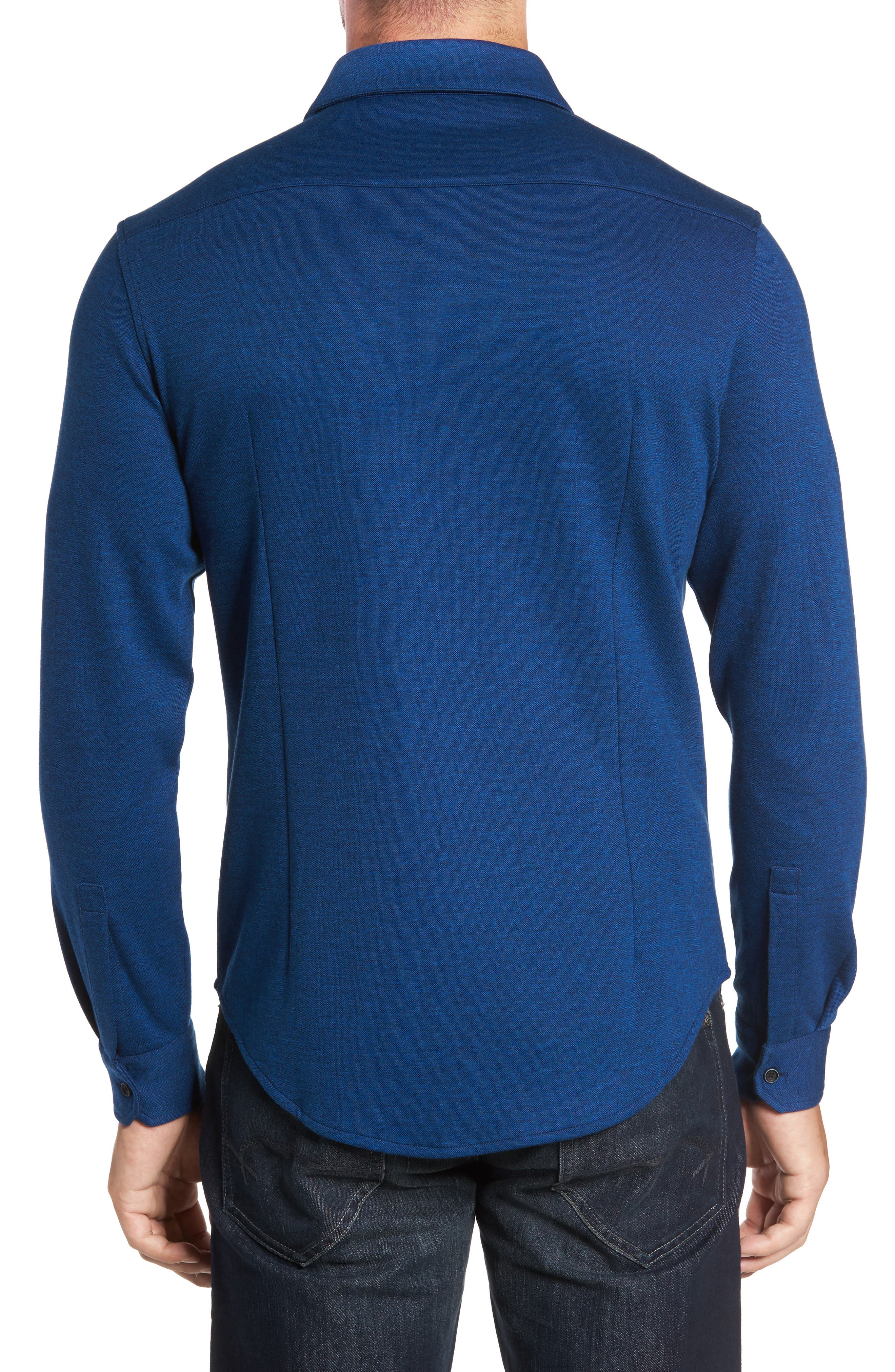 Classic Fit Heathered Knit Sport Shirt,                             Alternate thumbnail 2, color,                             Night Blue