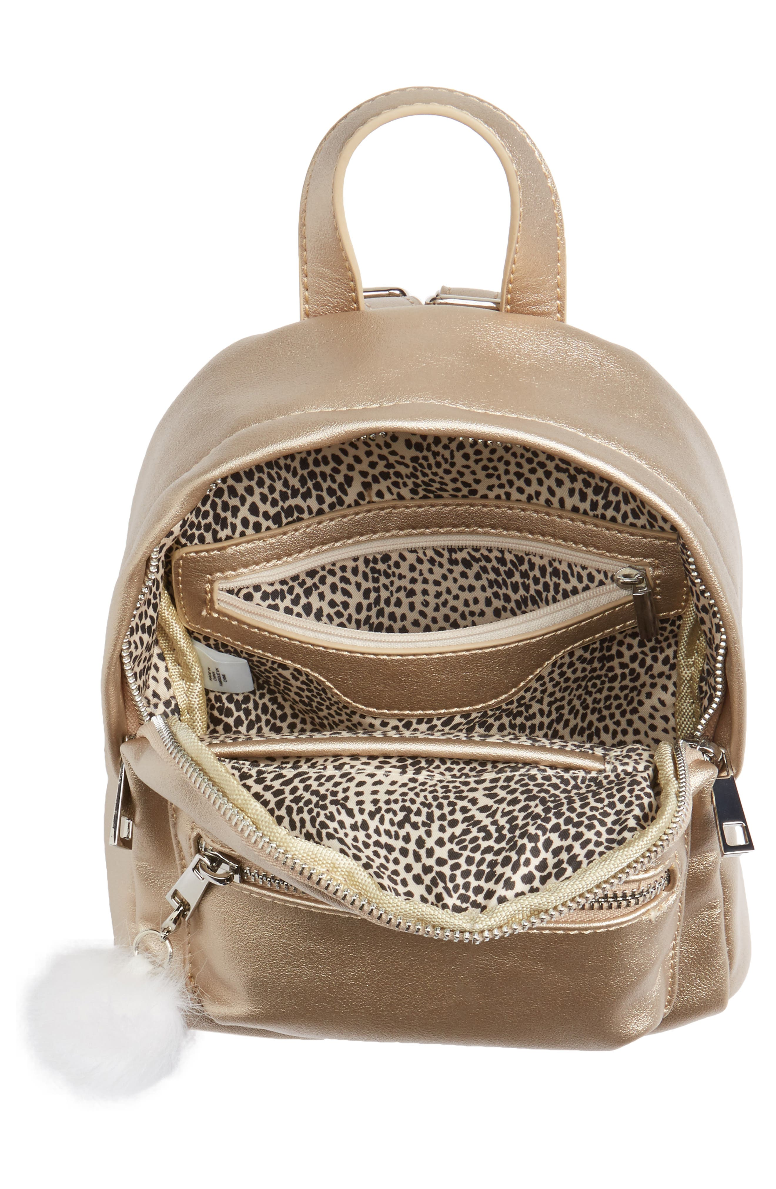 Faux Leather Mini Backpack,                             Alternate thumbnail 6, color,                             Gold/ Silver
