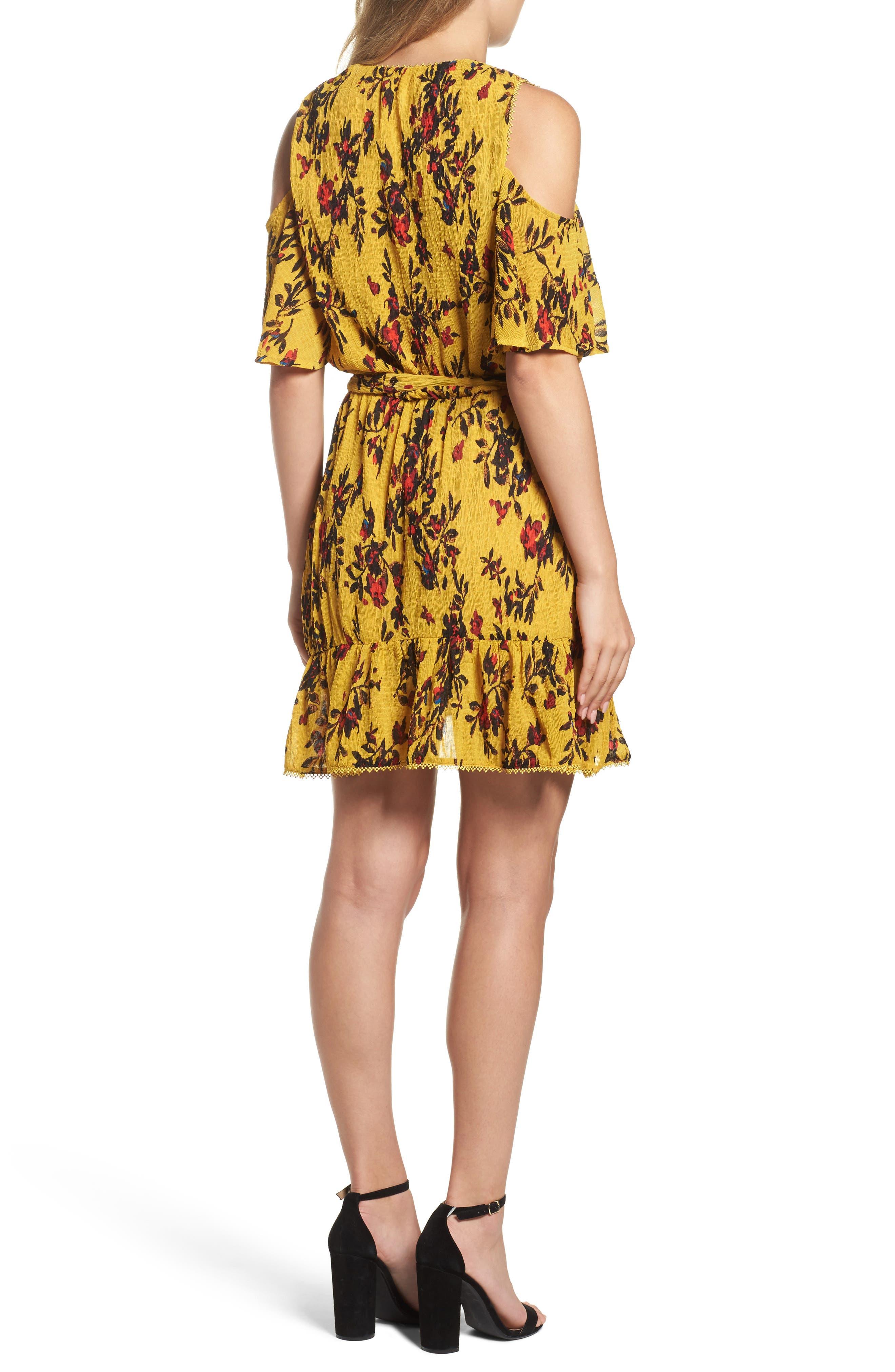 Alternate Image 2  - Foxiedox Windsome Floral Cold Shoulder Wrap Dress