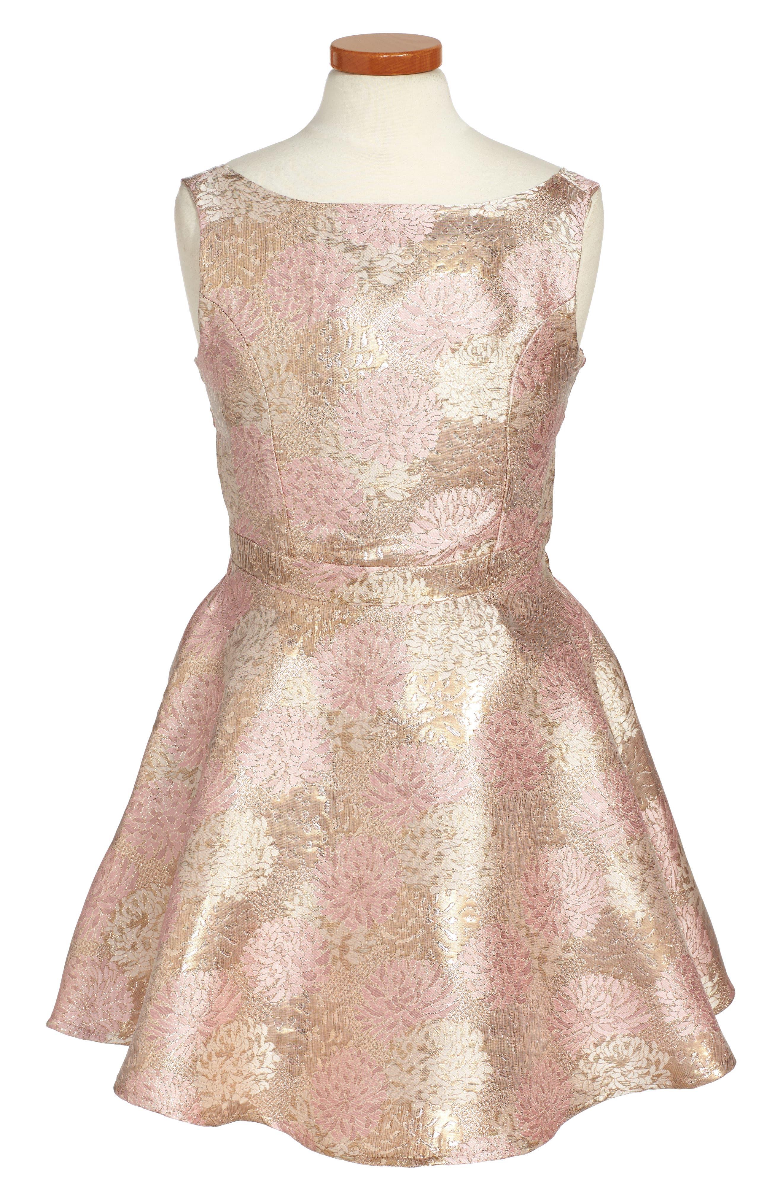 Floral Jacquard Skater Dress,                         Main,                         color, Pink/ Gold Floral