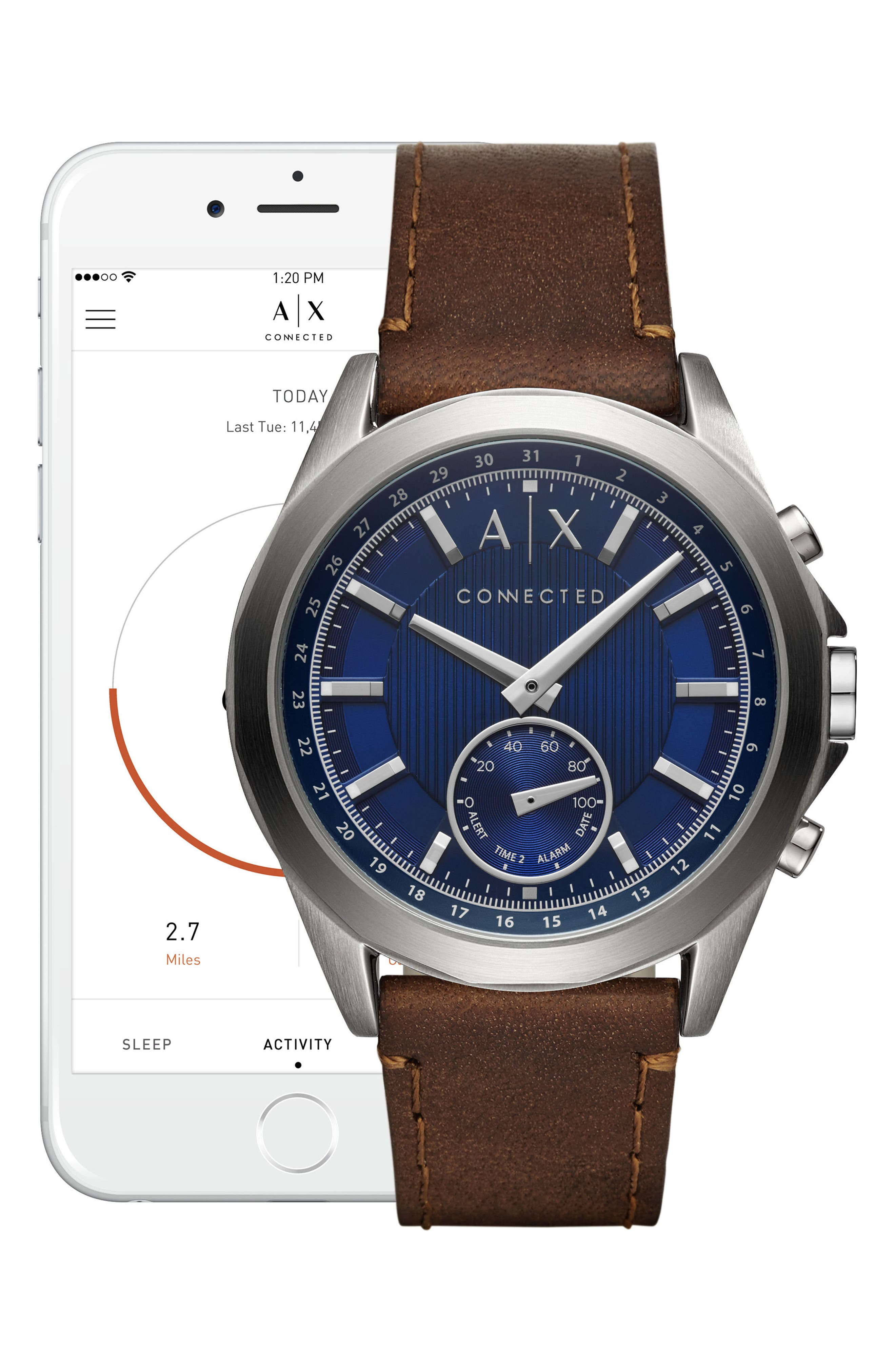 Connected Hybrid Leather Strap Smartwatch, 44mm,                             Alternate thumbnail 2, color,                             Navy/ Brown