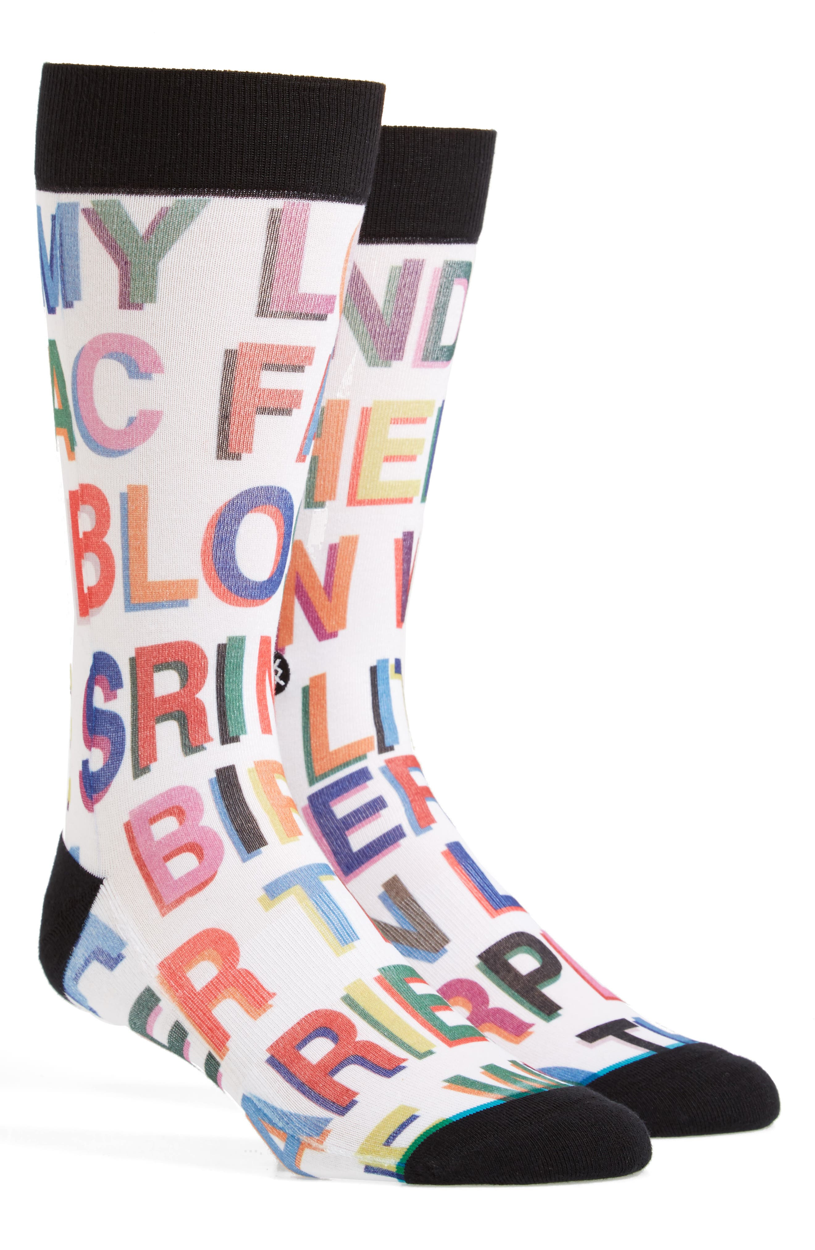 Love Letters Crew Socks,                             Main thumbnail 1, color,                             White Multi