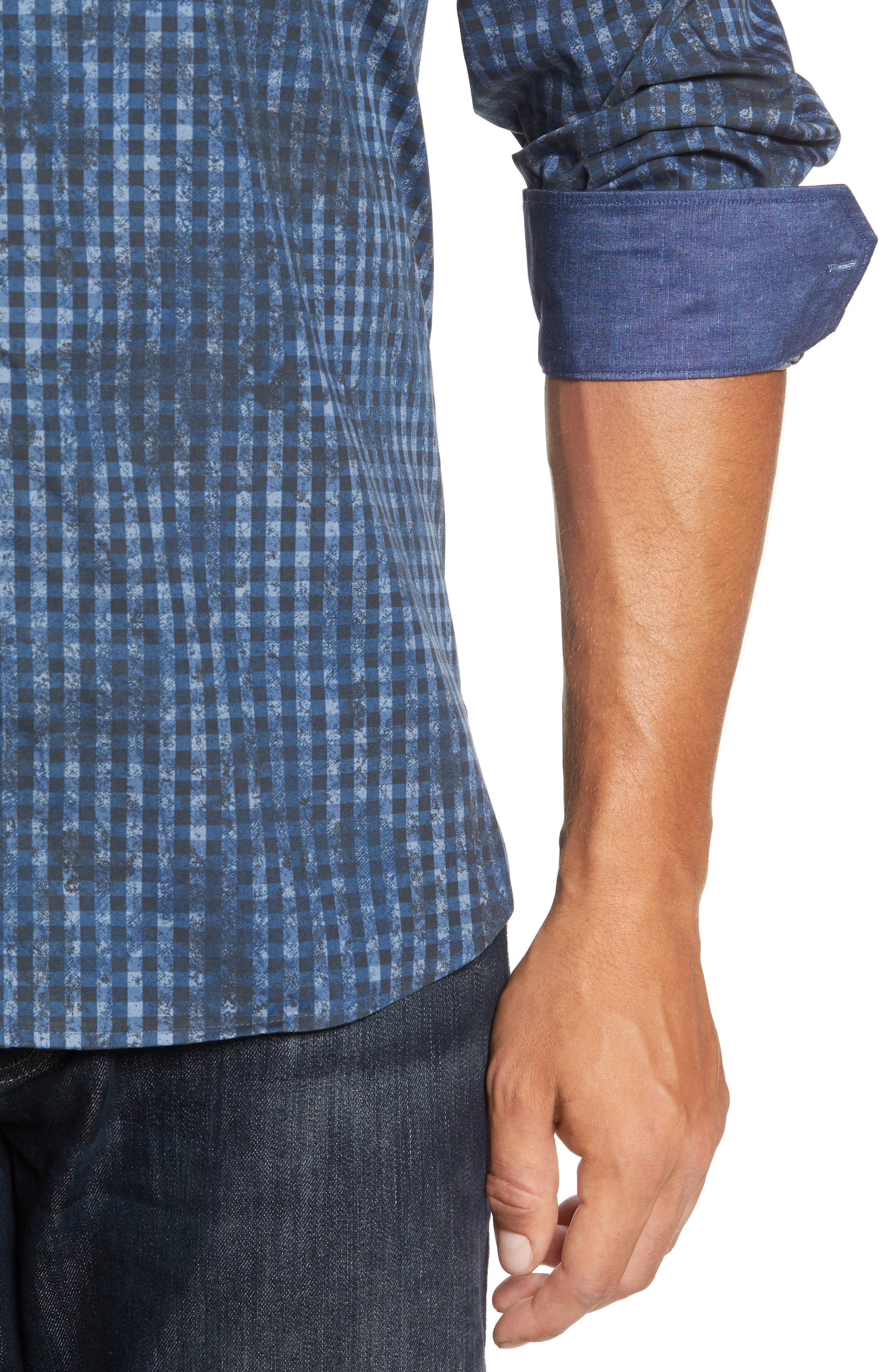 Classic Fit Mottled Check Sport Shirt,                             Alternate thumbnail 4, color,                             Indigo