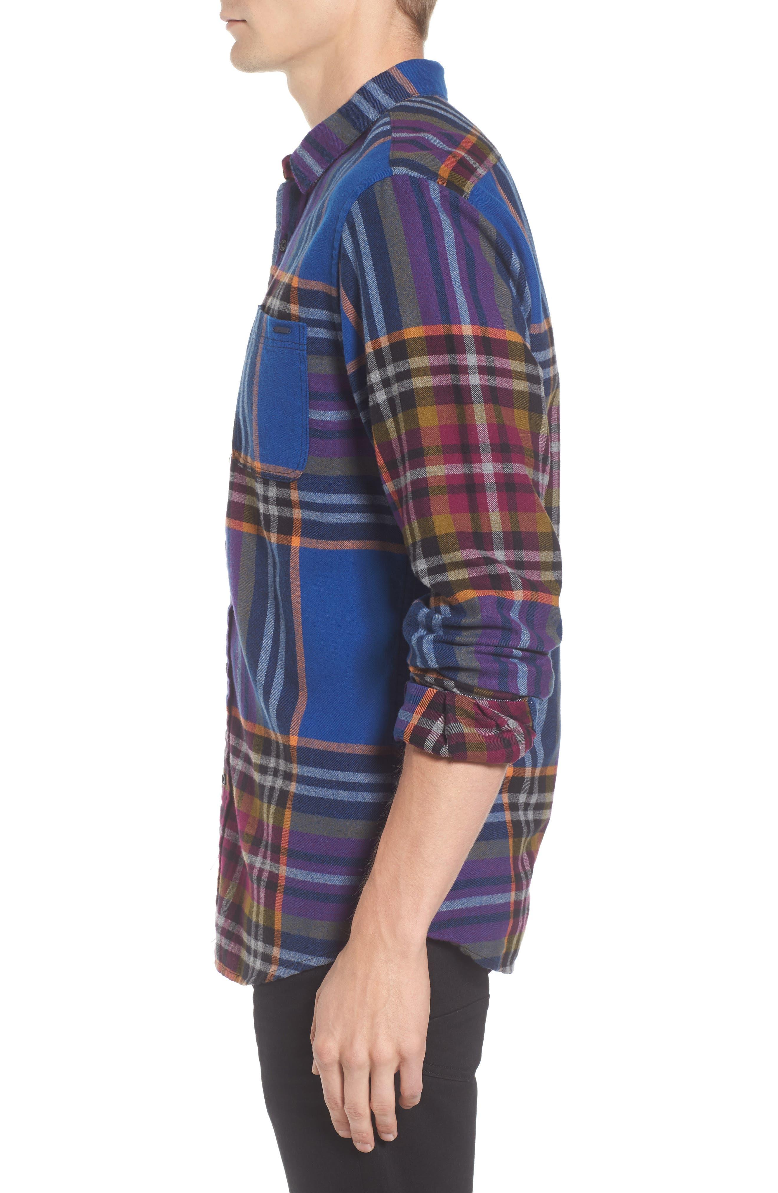 Brushed Flannel Plaid Shirt,                             Alternate thumbnail 3, color,                             Blue