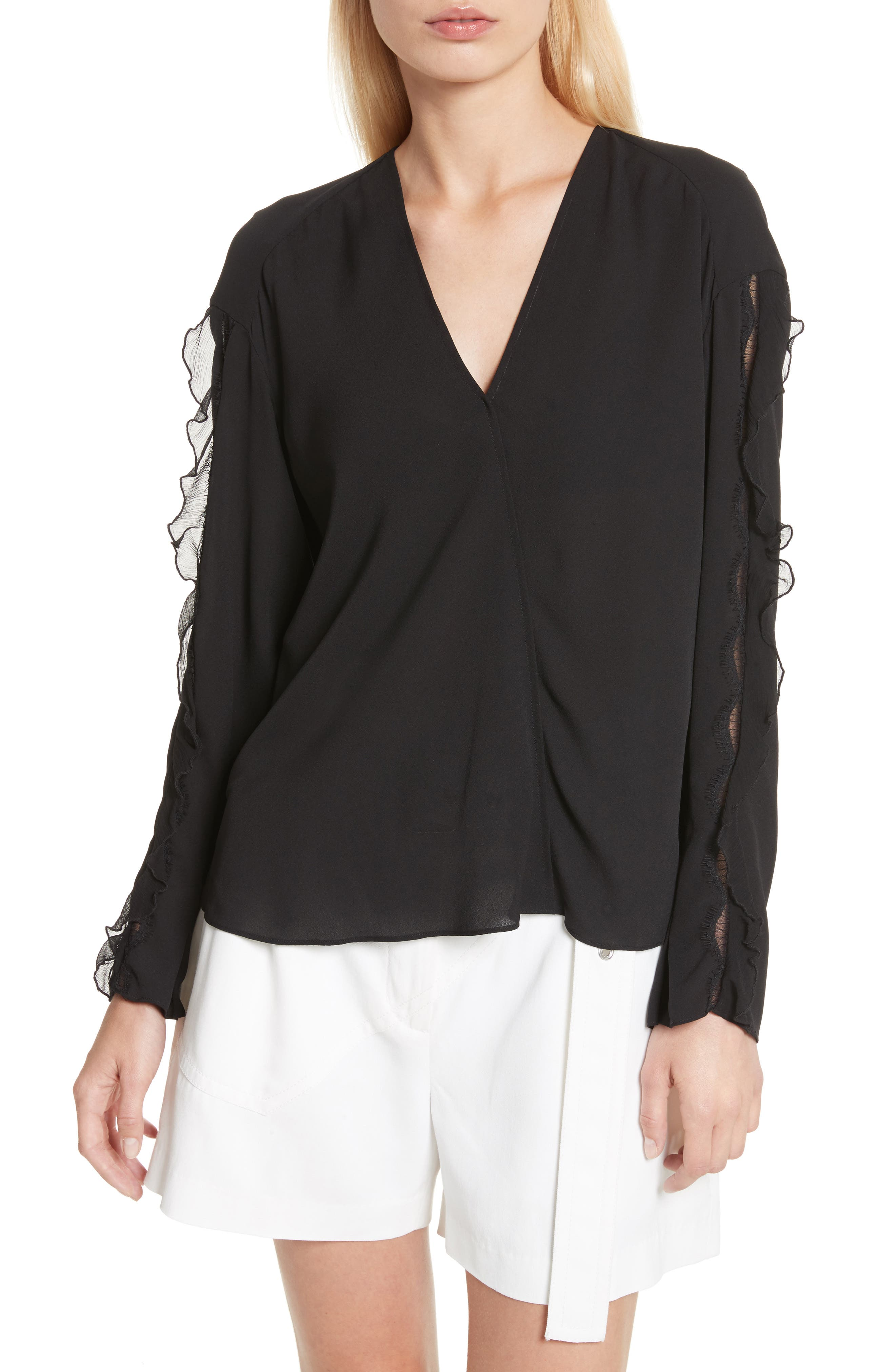 Ruffle Sleeve Silk Blouse,                         Main,                         color, Black