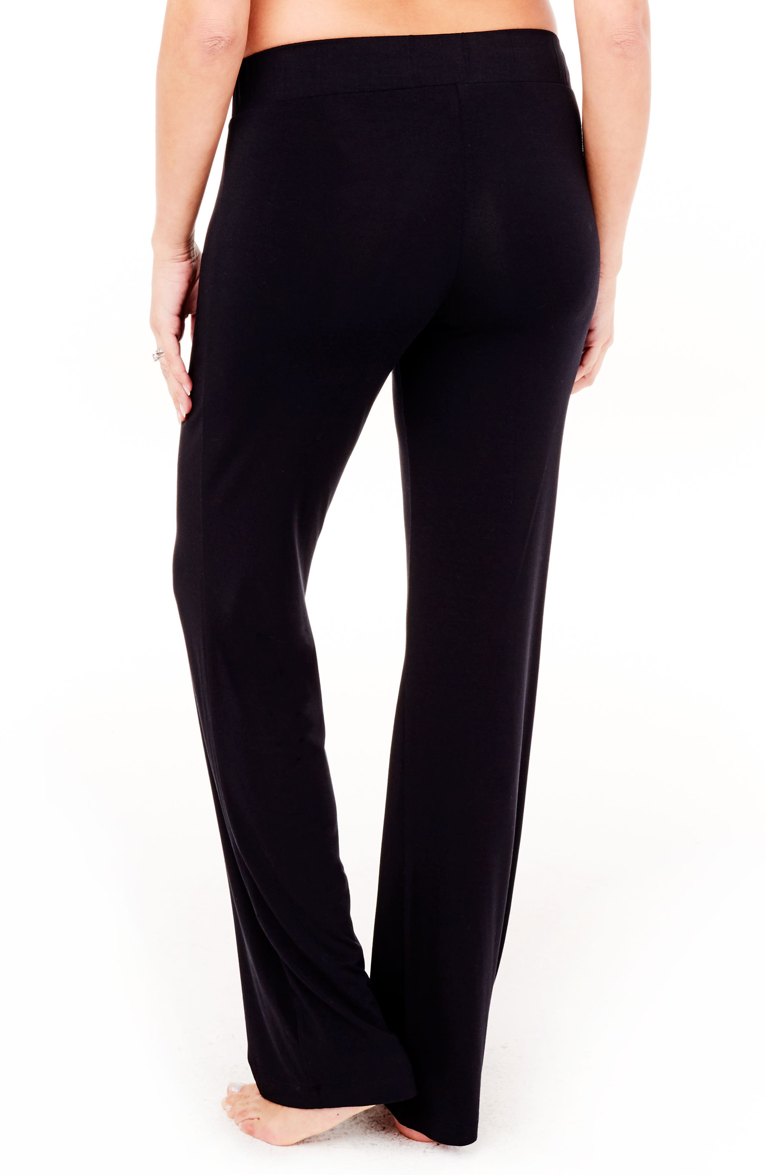 Maternity Lounge Pants,                             Alternate thumbnail 4, color,                             Jet Black