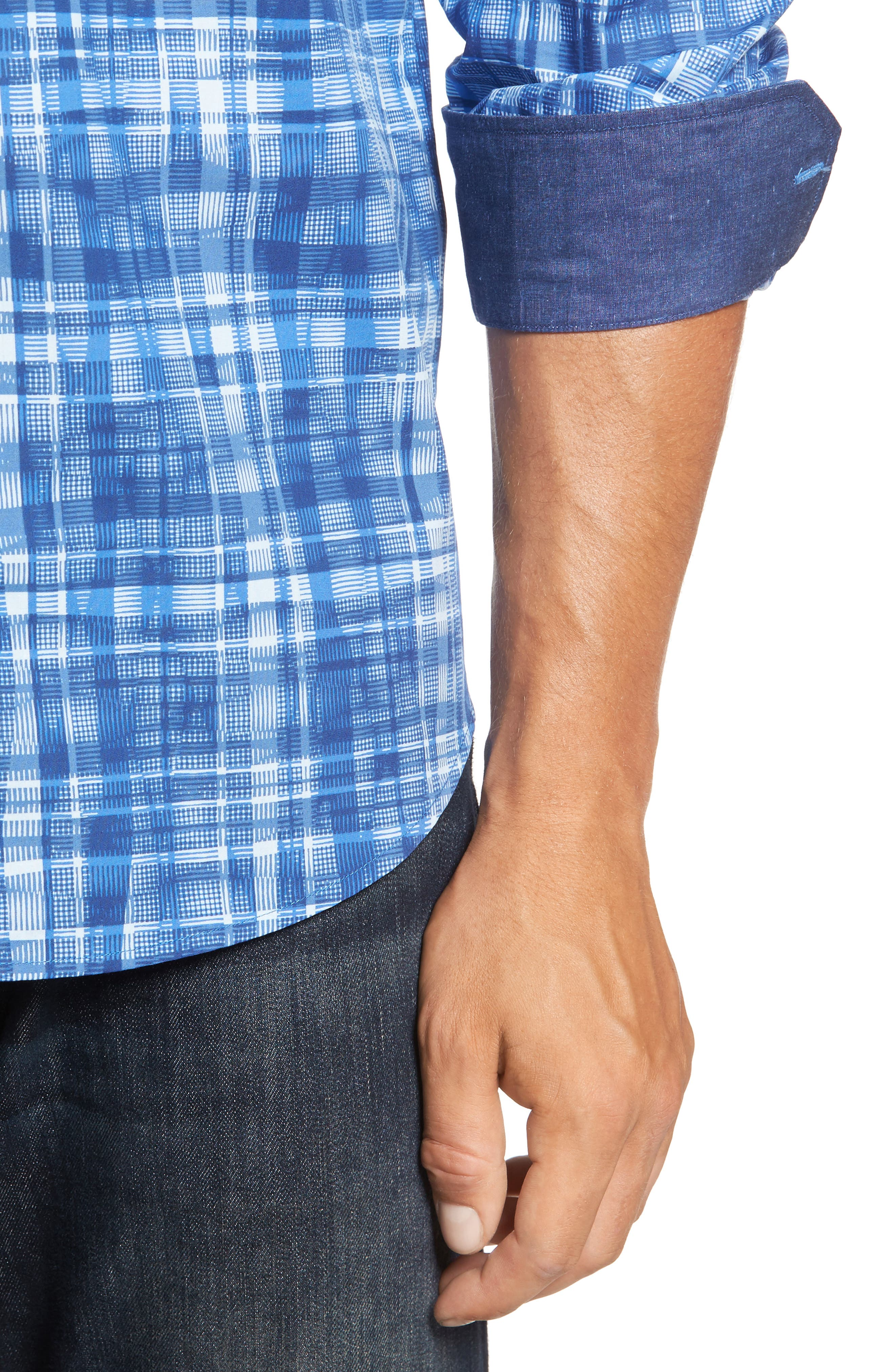 Classic Fit Abstract Plaid Sport Shirt,                             Alternate thumbnail 4, color,                             Classic Blue