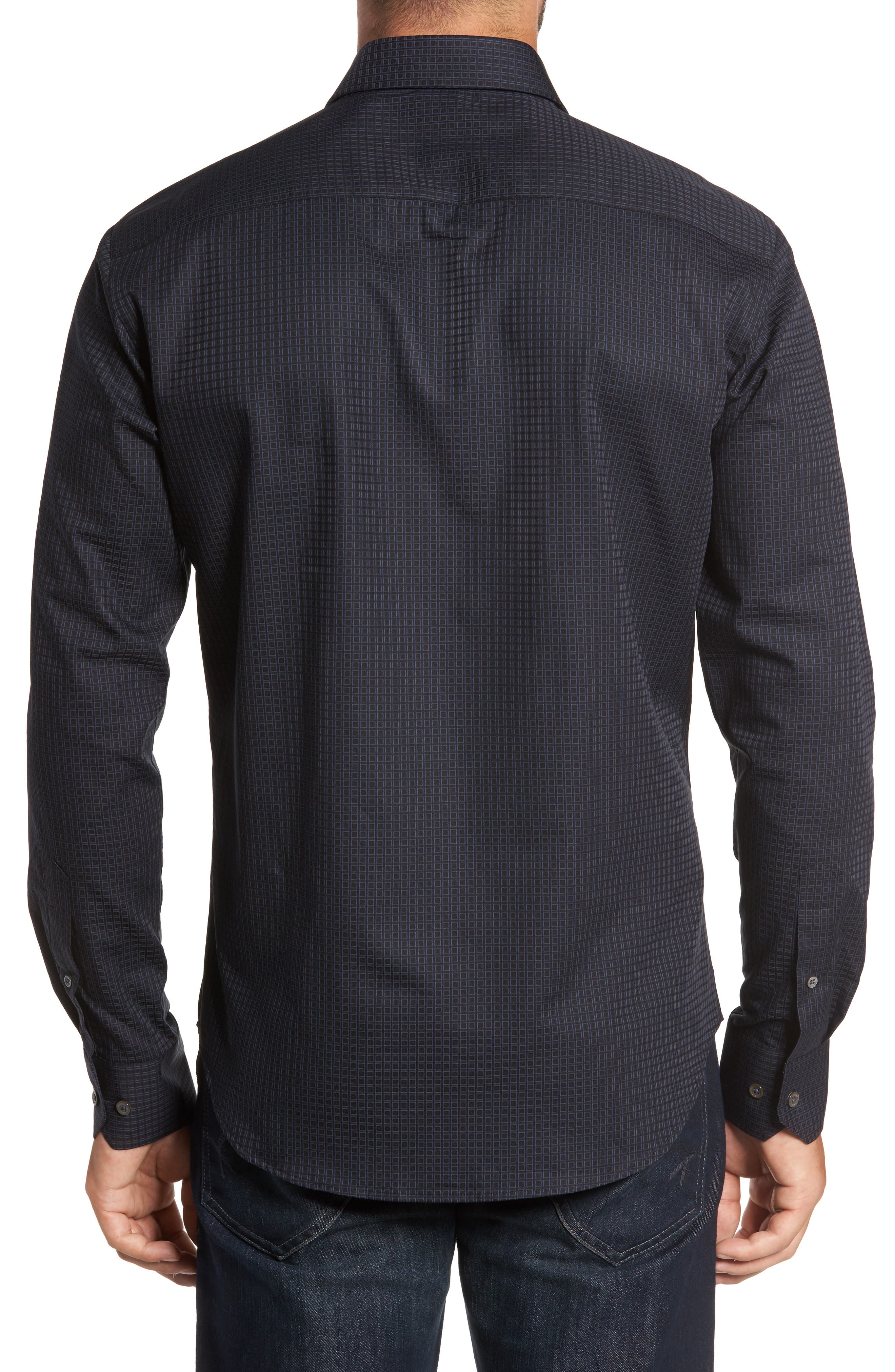 Trim Fit Box Print Sport Shirt,                             Alternate thumbnail 2, color,                             Black
