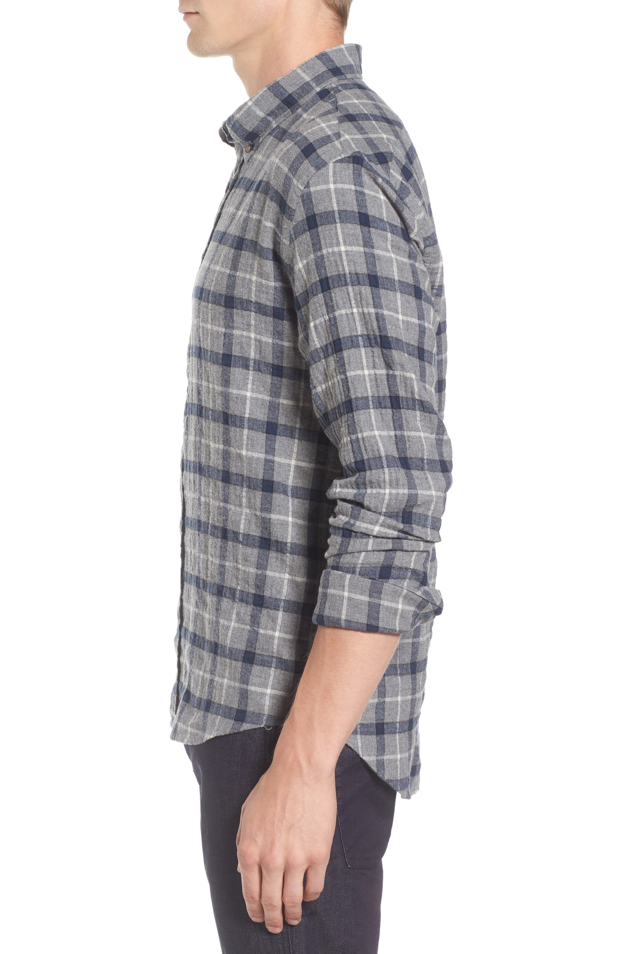 Murphy Slim Fit Plaid Sport Shirt,                             Alternate thumbnail 3, color,                             Grey/ Navy