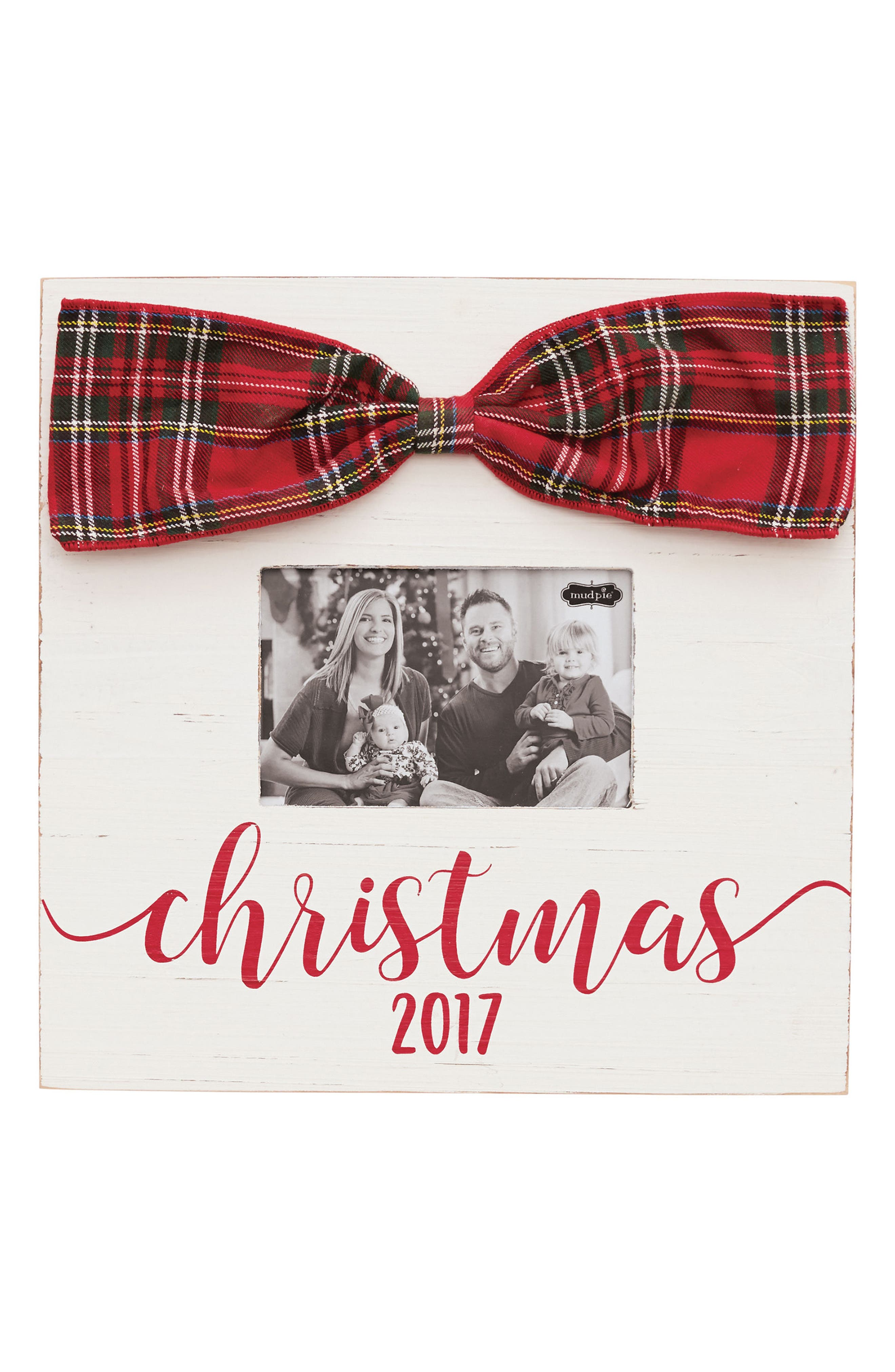 Christmas 2017 Bow Picture Frame,                         Main,                         color, White/ Red/ Green