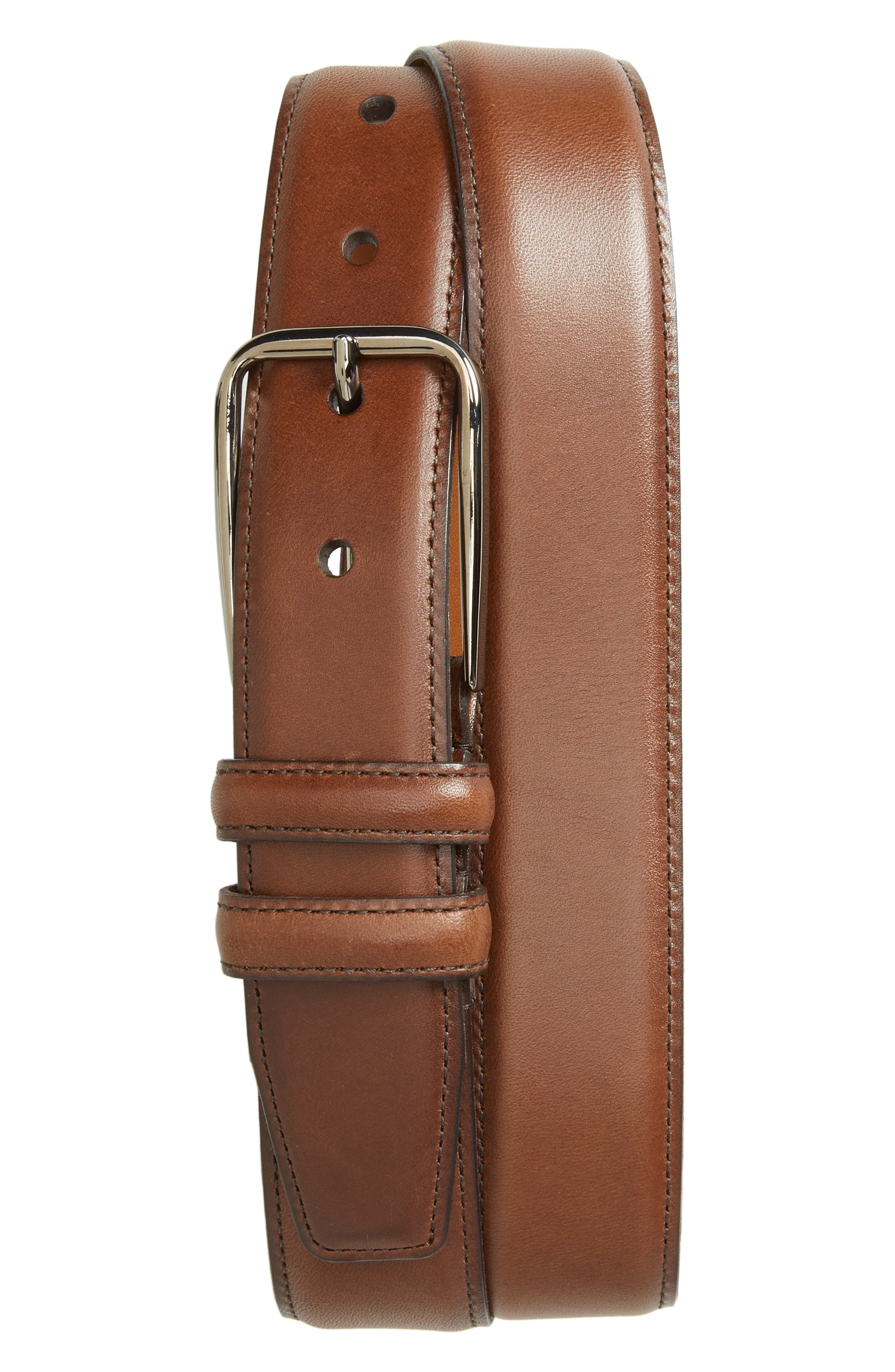 Parker Leather Belt,                             Main thumbnail 1, color,                             Brown Chestnut