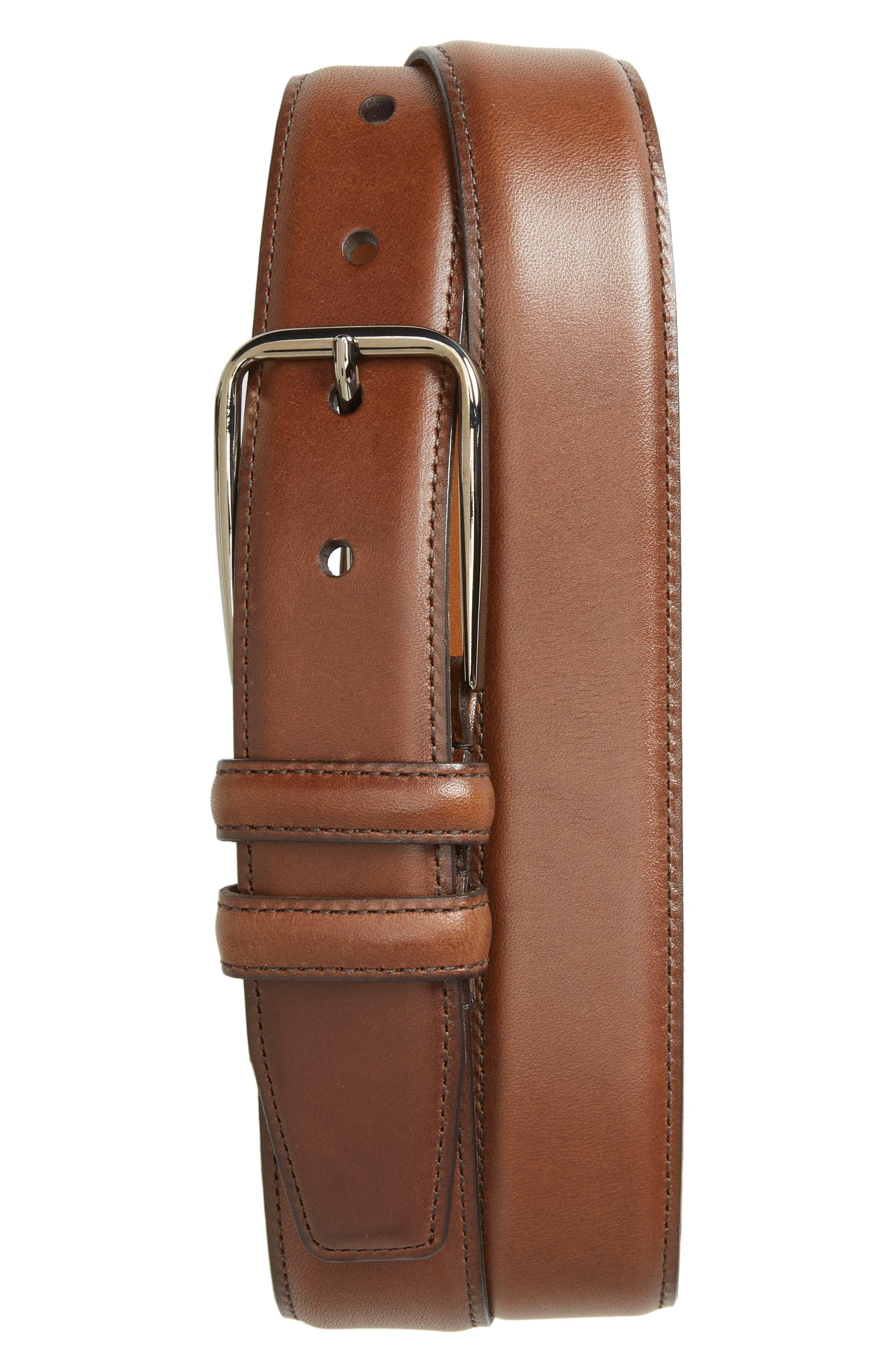 Parker Leather Belt,                         Main,                         color, Brown Chestnut