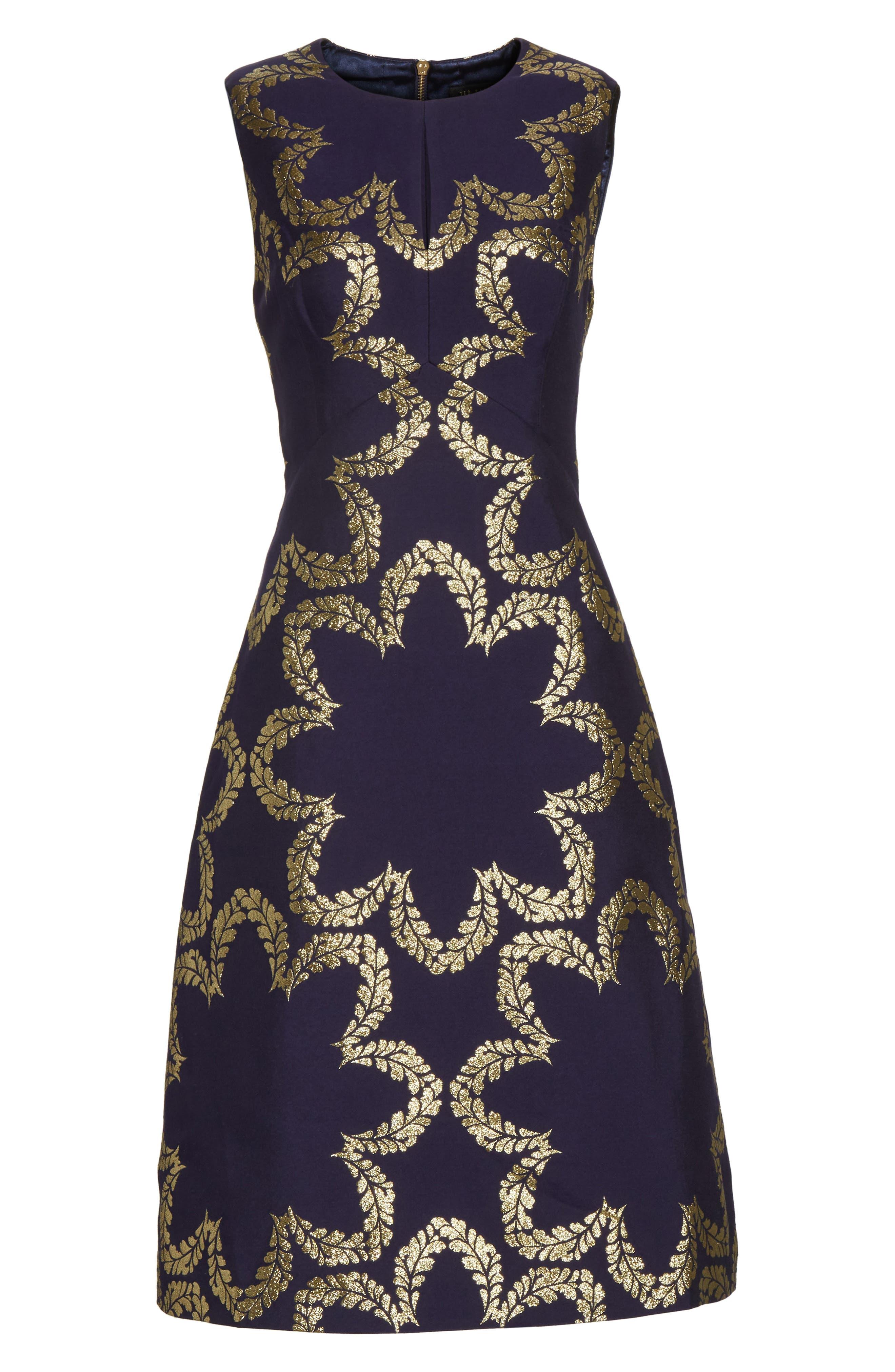 Kyoto Fit & Flare Dress,                             Alternate thumbnail 6, color,                             Mid Blue