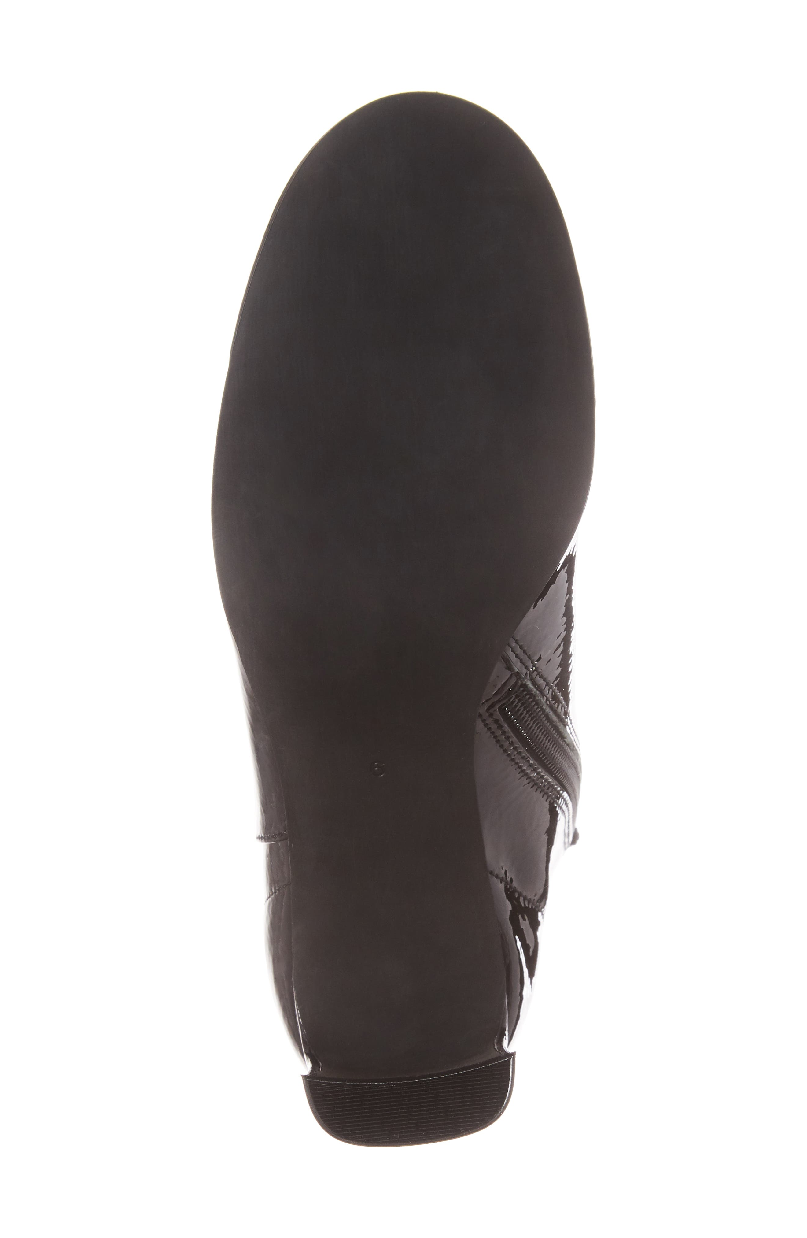 Chapel Curved Heel Bootie,                             Alternate thumbnail 6, color,                             Black Crinkle Patent