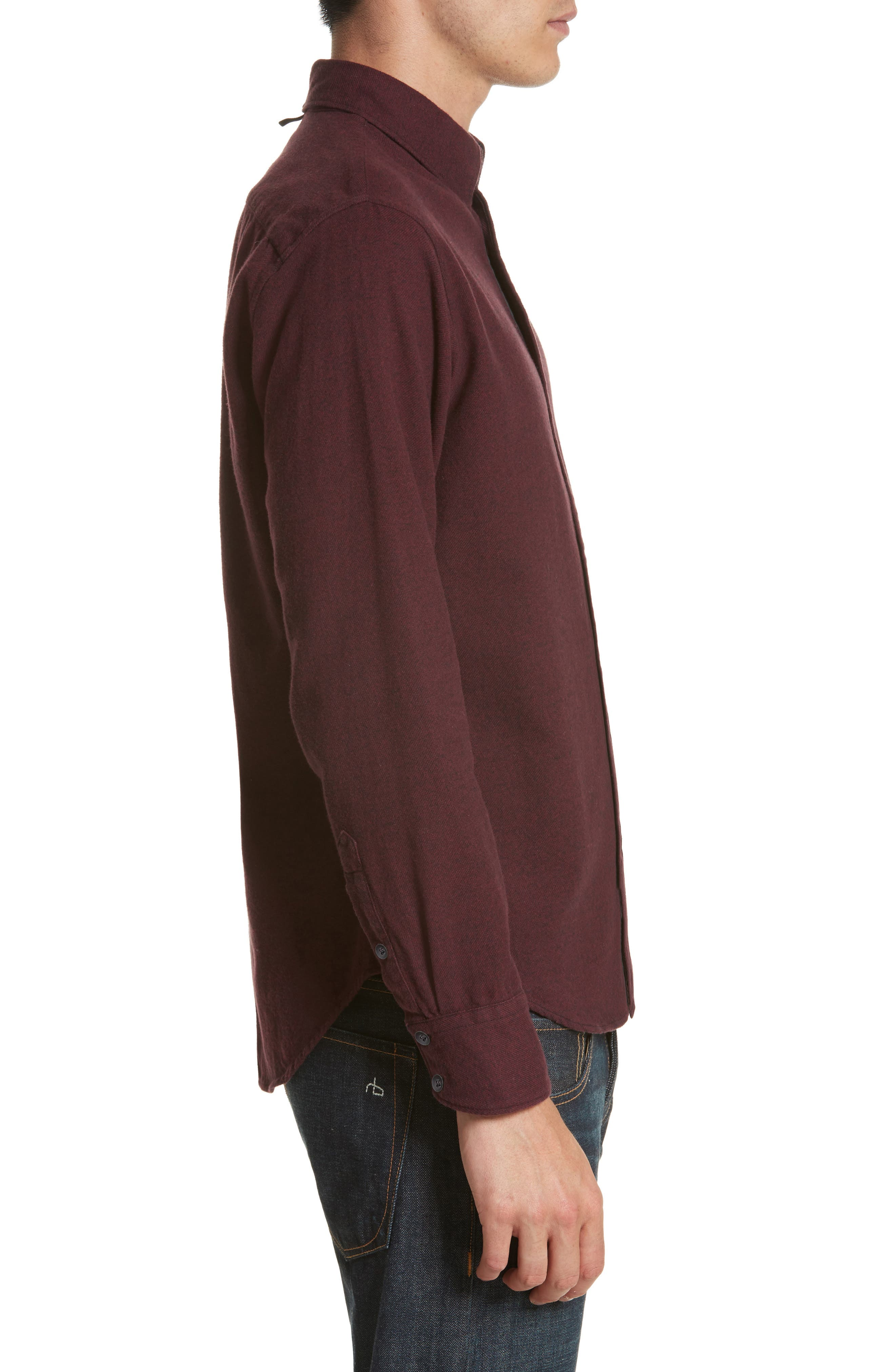 Fit 2 Base Woven Shirt,                             Alternate thumbnail 3, color,                             Burgundy