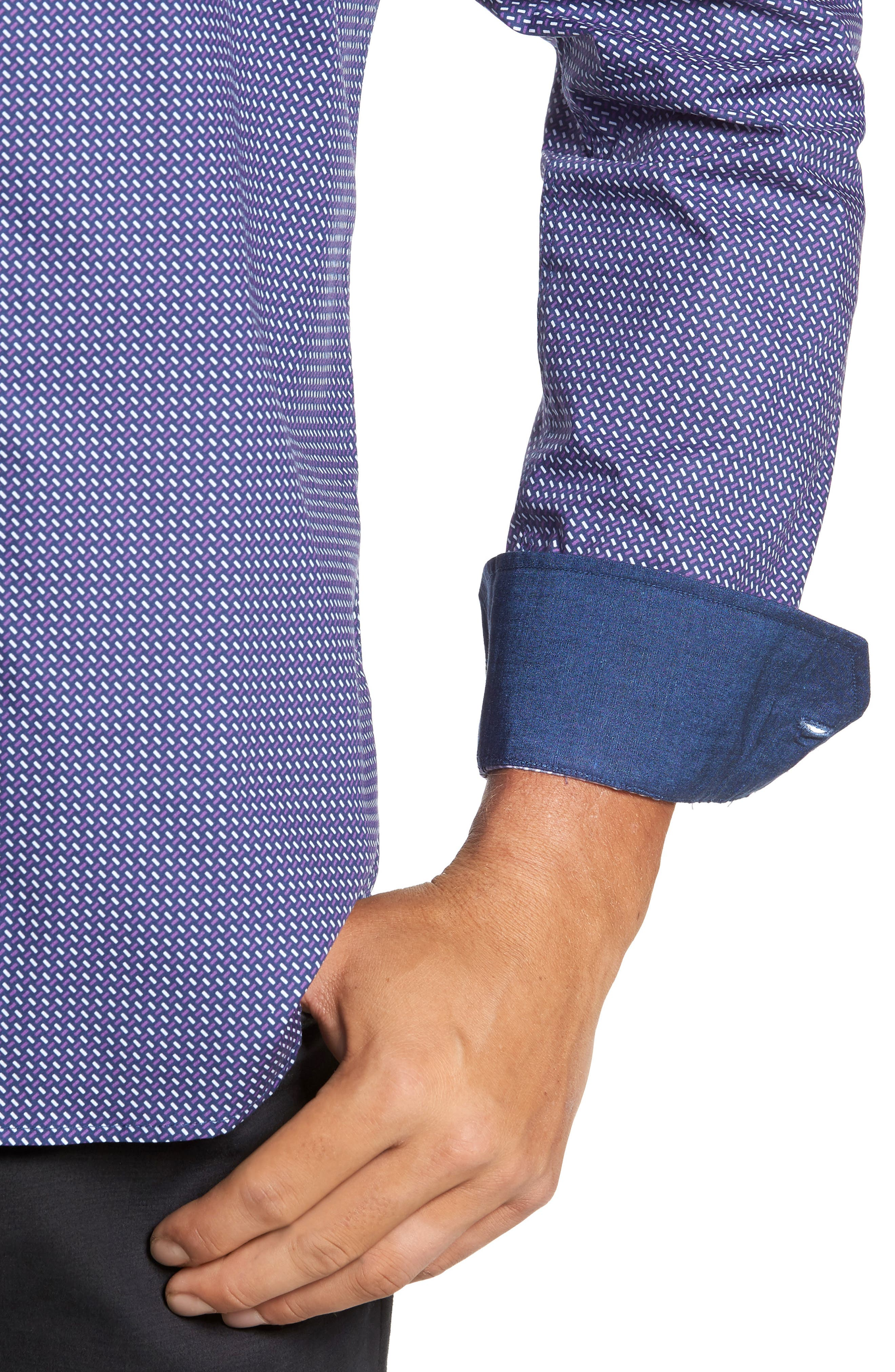 Alternate Image 4  - Bugatchi Trim Fit Weave Print Sport Shirt