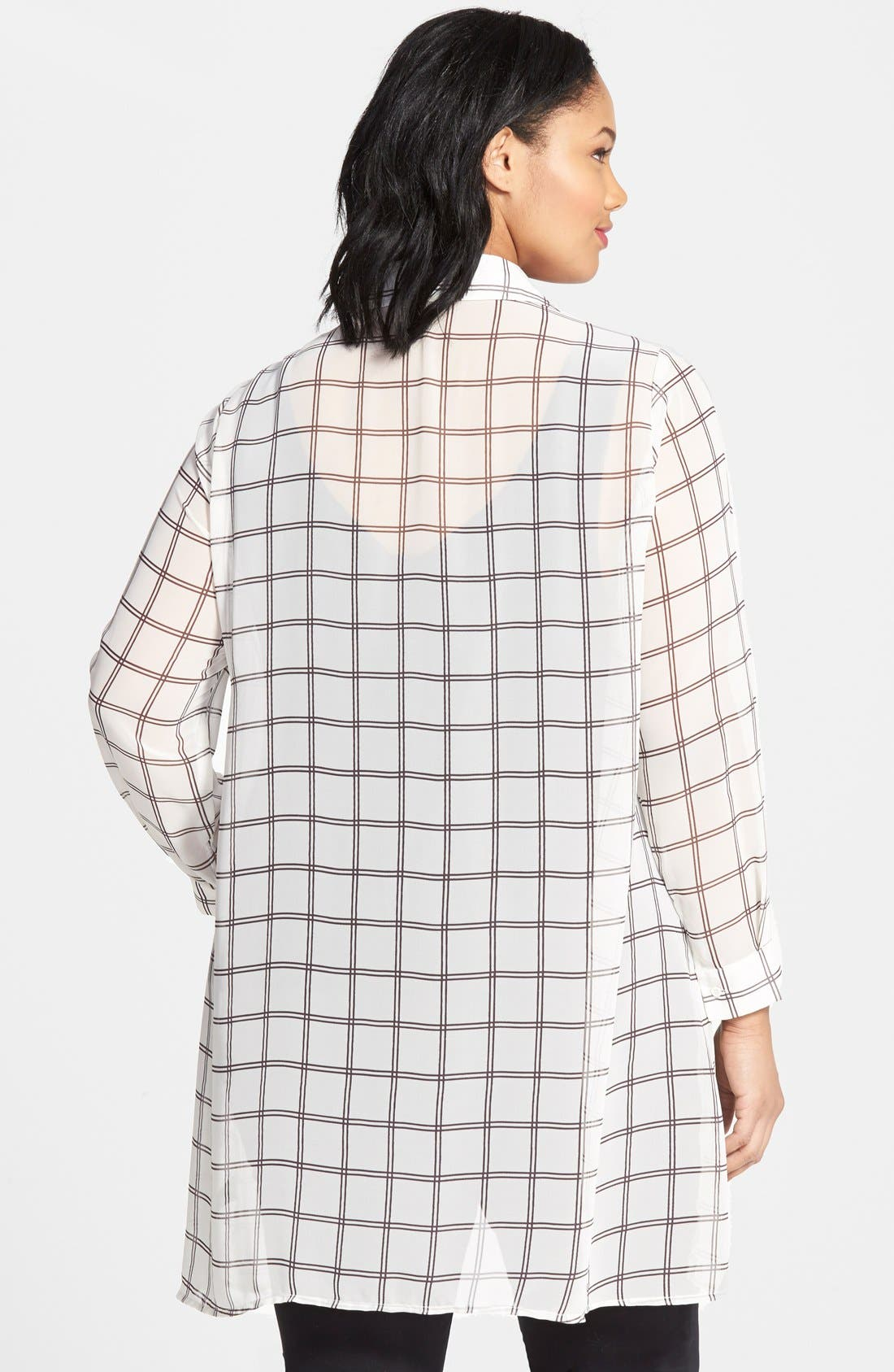 Alternate Image 2  - Pleione Plaid Chiffon Tunic (Plus Size)