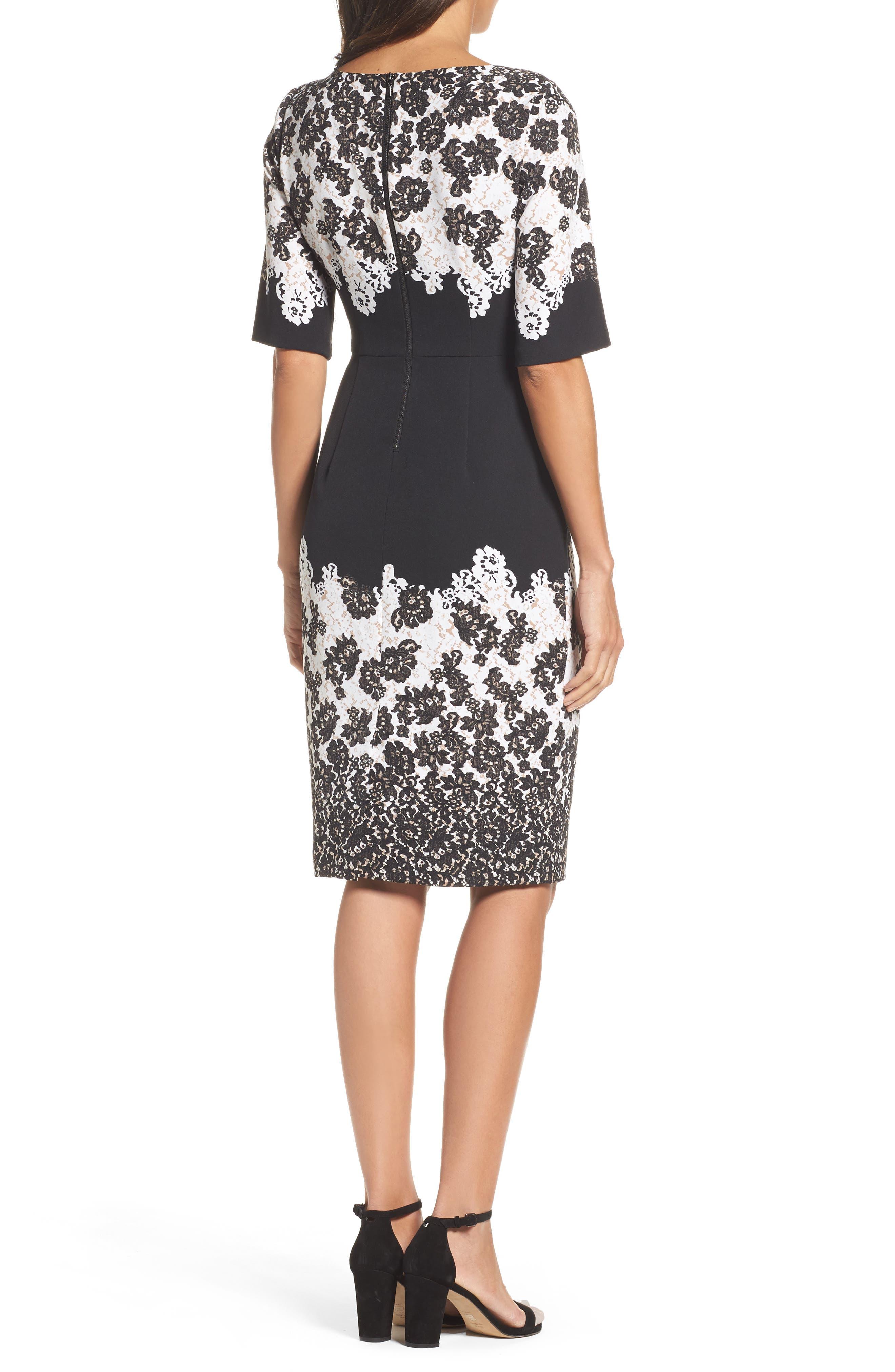 Print Sheath Dress,                             Alternate thumbnail 2, color,                             Black Multi