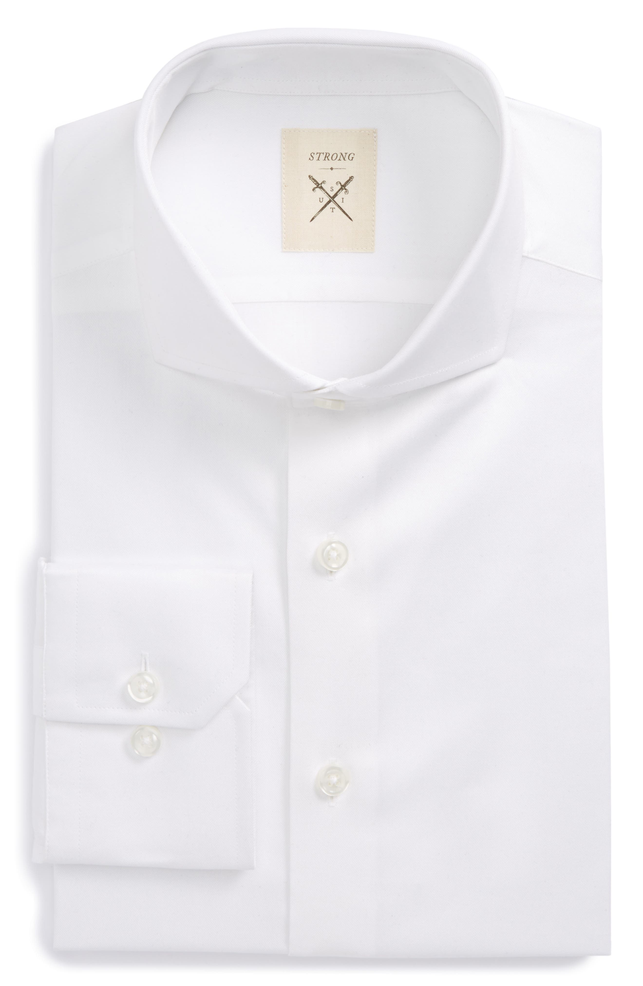 Trim Fit Solid Twill Dress Shirt,                         Main,                         color, White