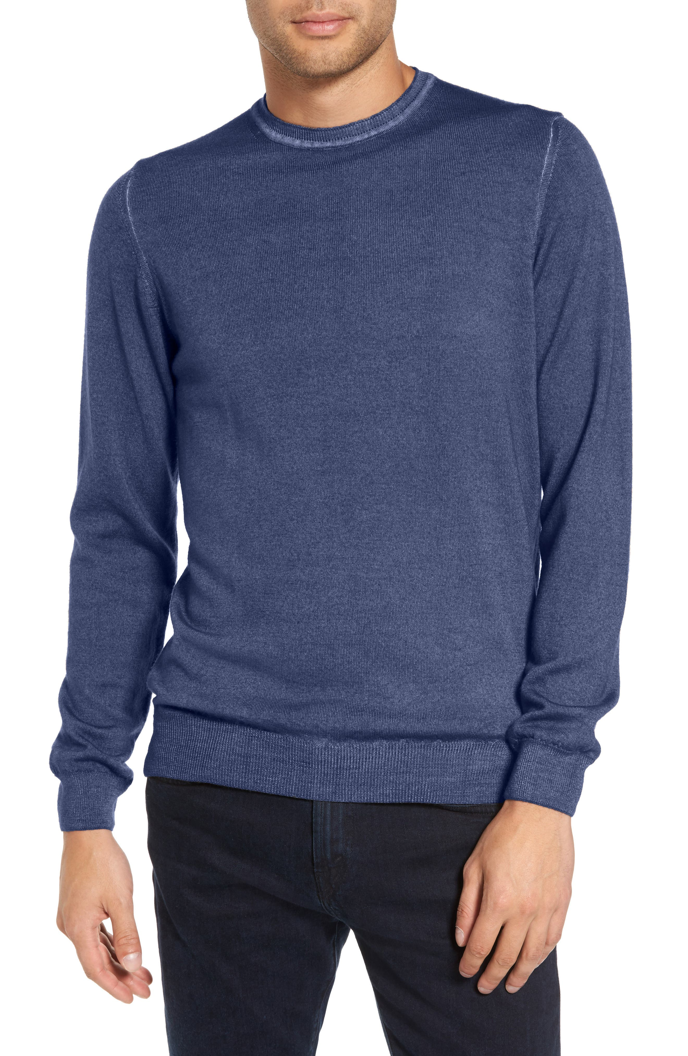 V-Neck Merino Wool Sweater,                         Main,                         color, Blue