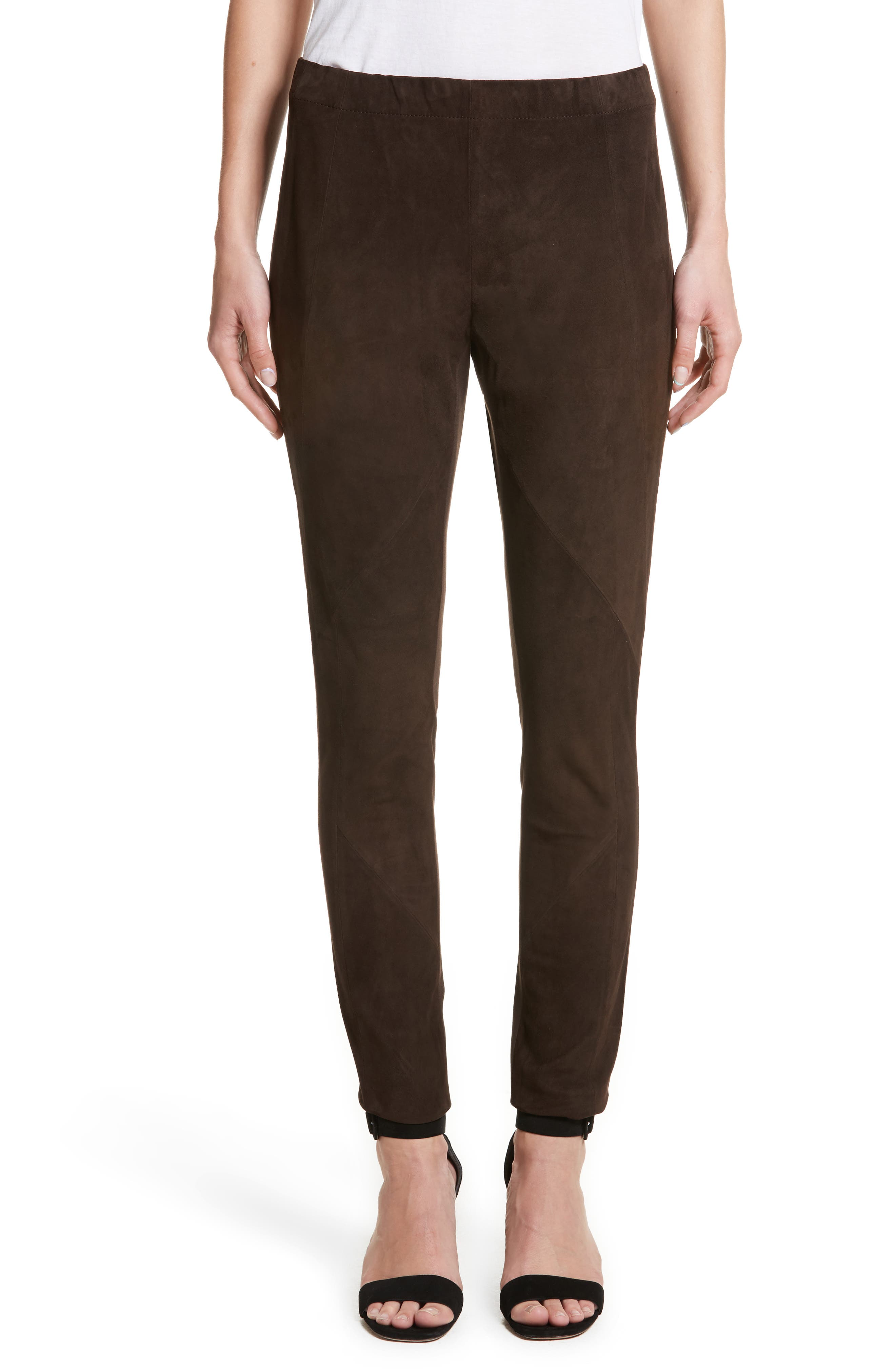 Main Image - Lafayette 148 New York Suede Front Punto Milano Riding Leggings