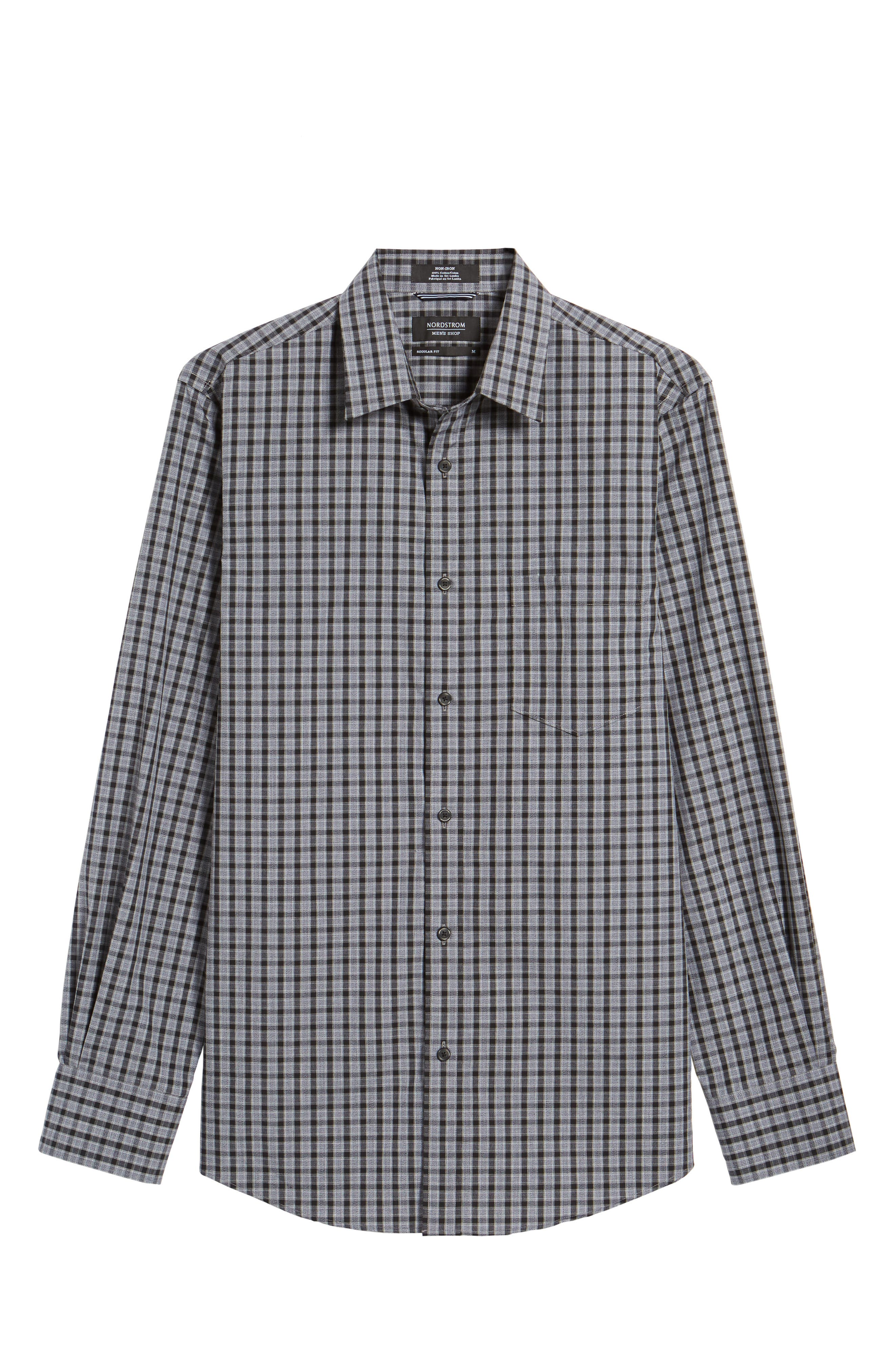 Regular Fit Non-Iron Check Sport Shirt,                             Alternate thumbnail 6, color,                             Grey Shade Black Heather Check