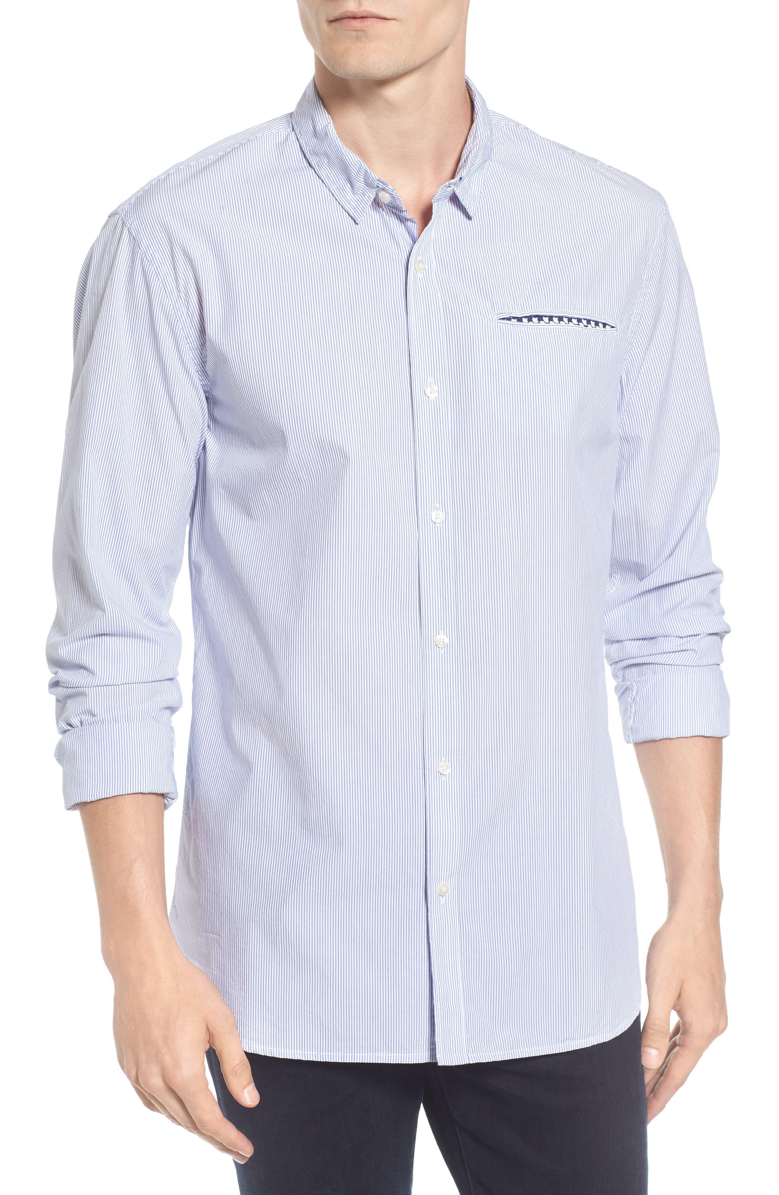 Woven Stripe Shirt,                         Main,                         color, White