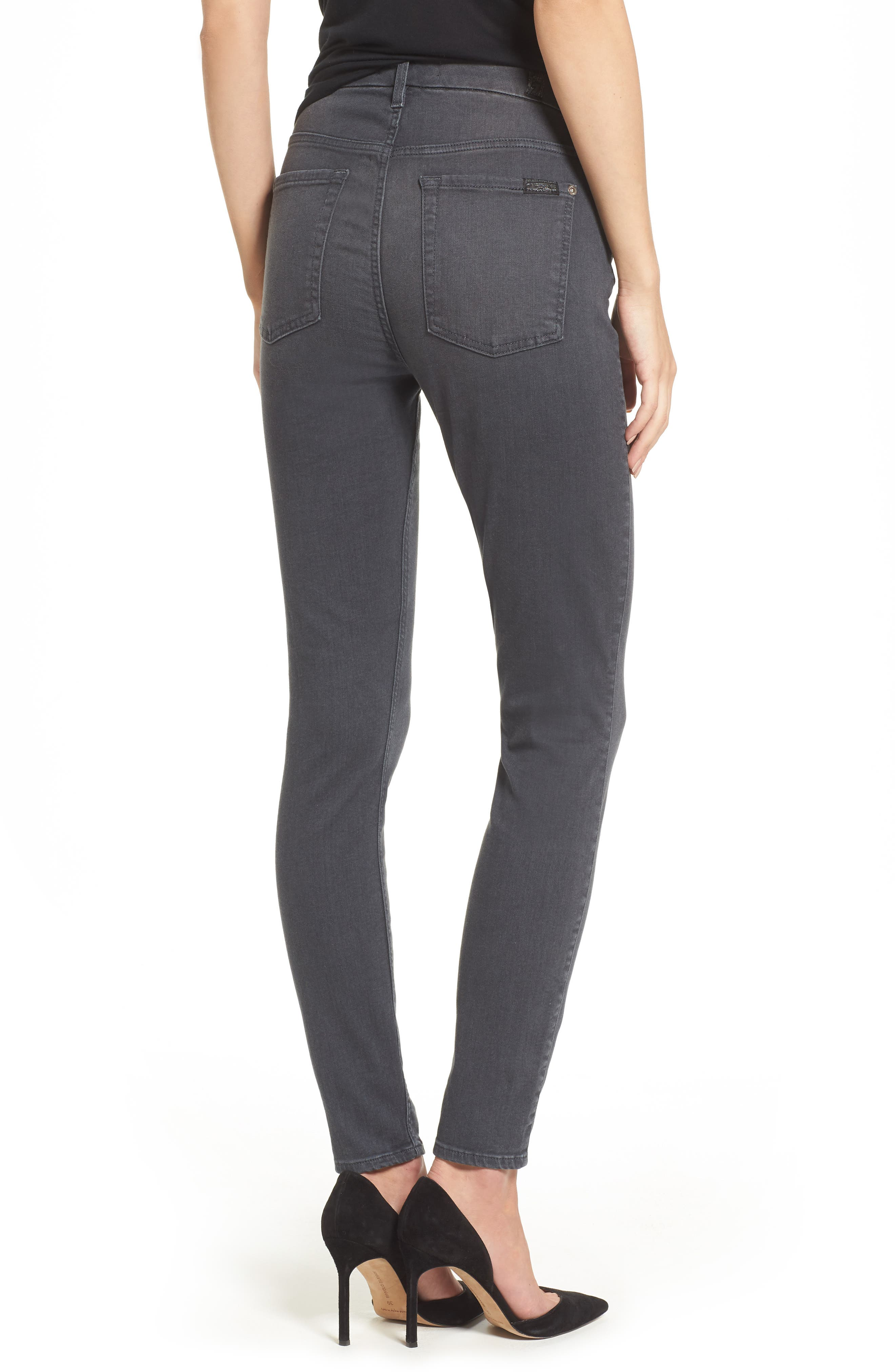 Alternate Image 2  - 7 For All Mankind® b(air) High Waist Skinny Jeans (Smoke)