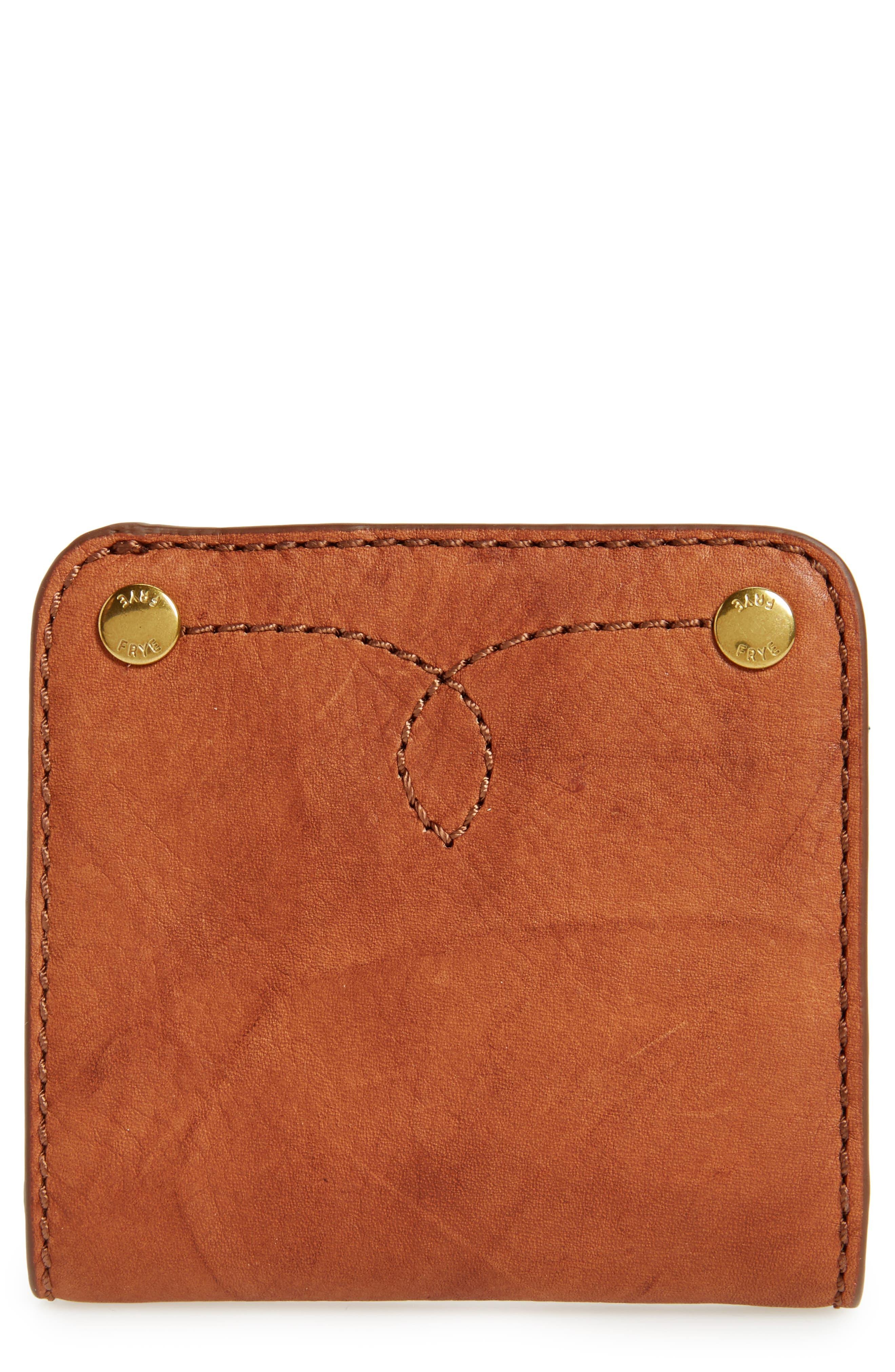 Small Campus Rivet Leather Wallet,                             Main thumbnail 1, color,                             Saddle