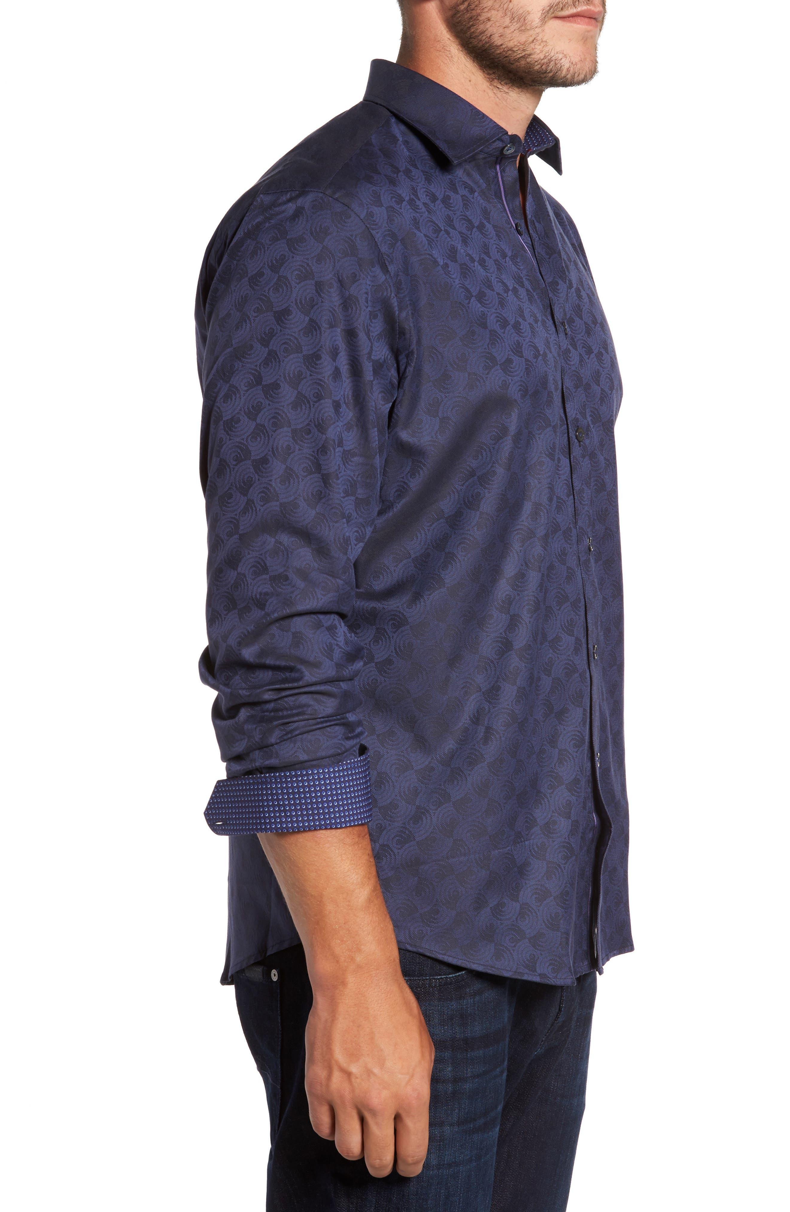 Alternate Image 3  - Bugatchi Classic Fit Swirl Print Sport Shirt