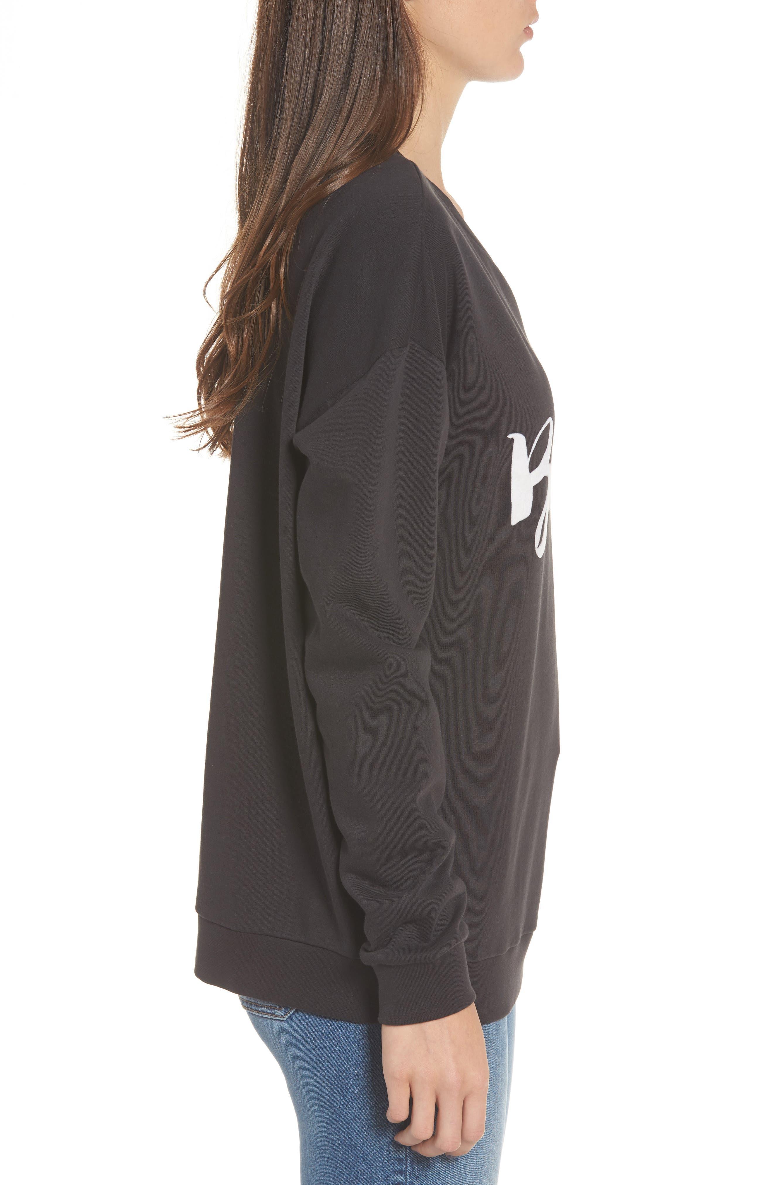 Bisous Sweatshirt,                             Alternate thumbnail 3, color,                             Black