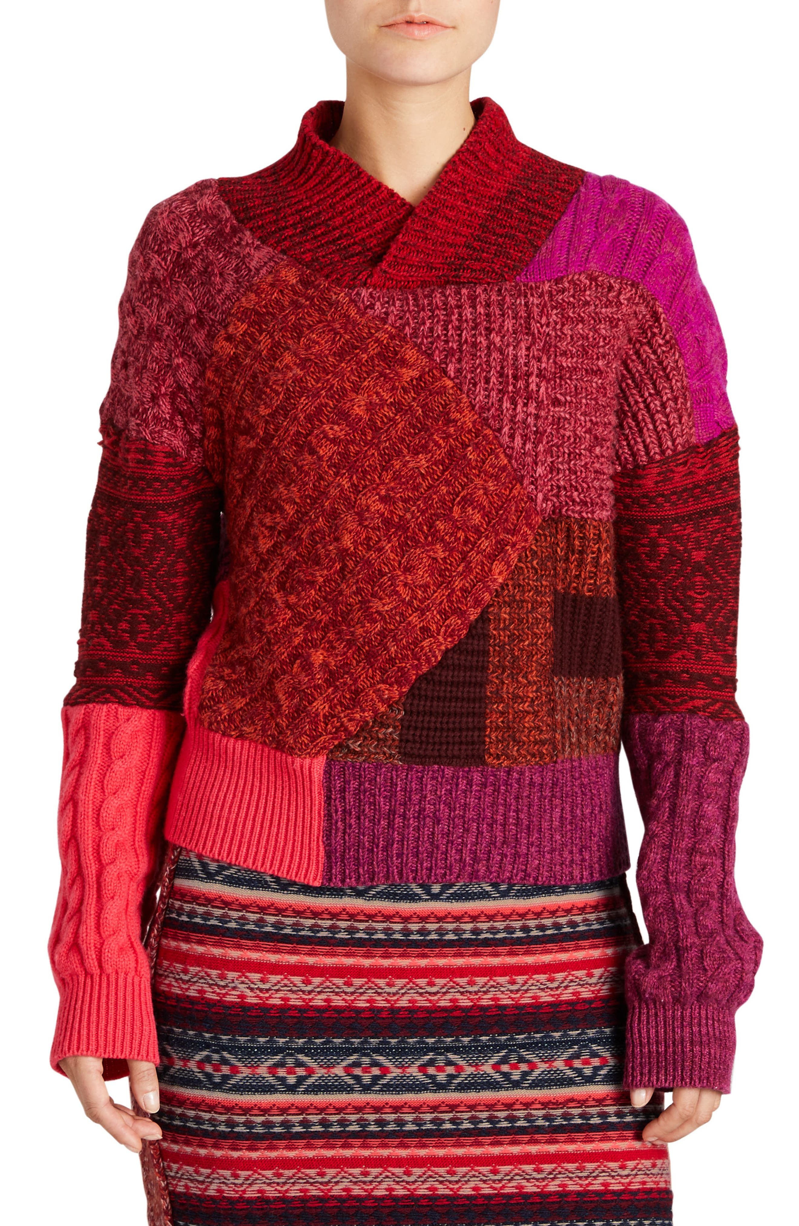 Cashmere & Wool Patchwork Sweater,                         Main,                         color, Berry Red