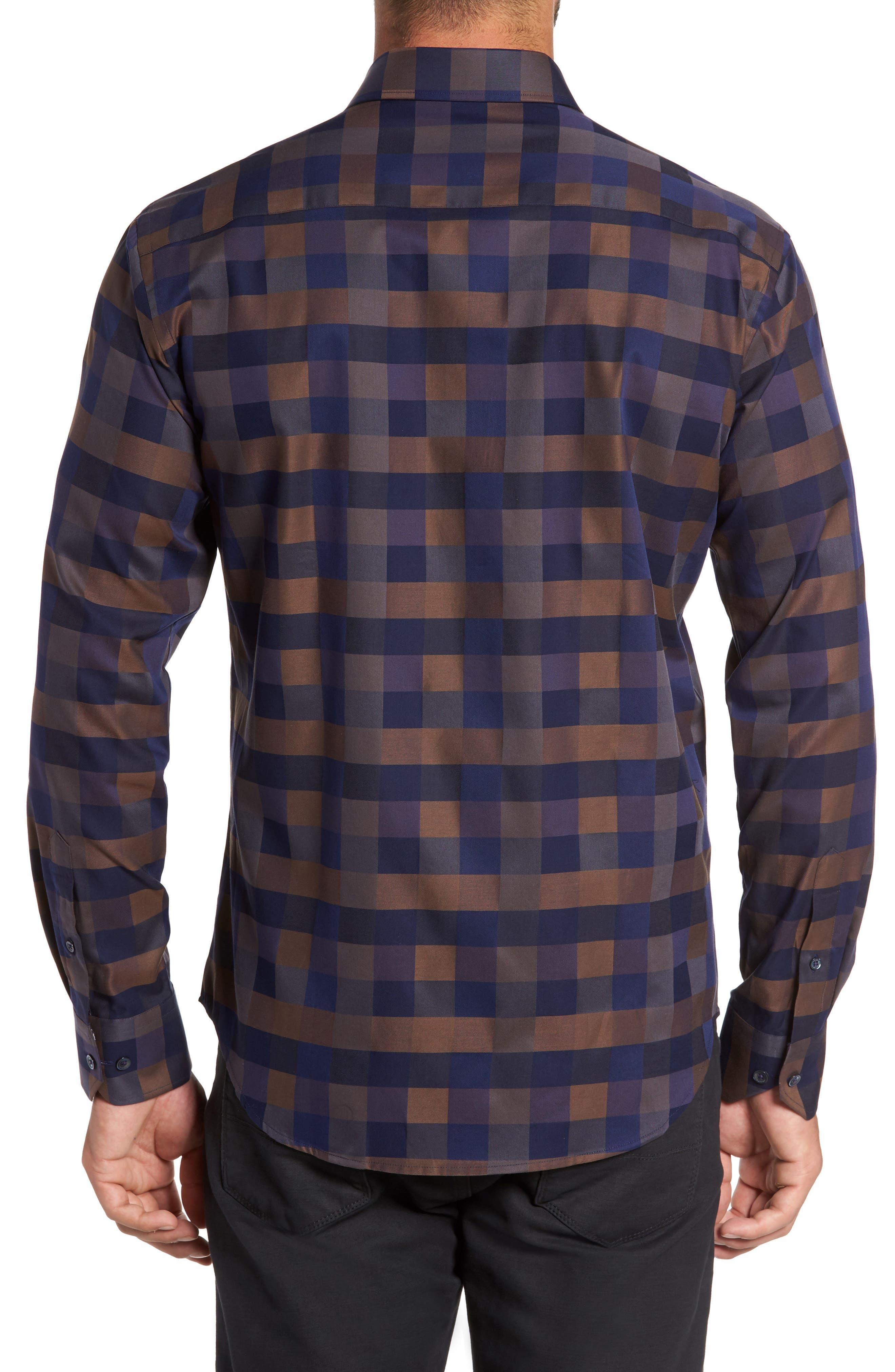 Alternate Image 2  - Bugatchi Trim Fit Box Check Sport Shirt
