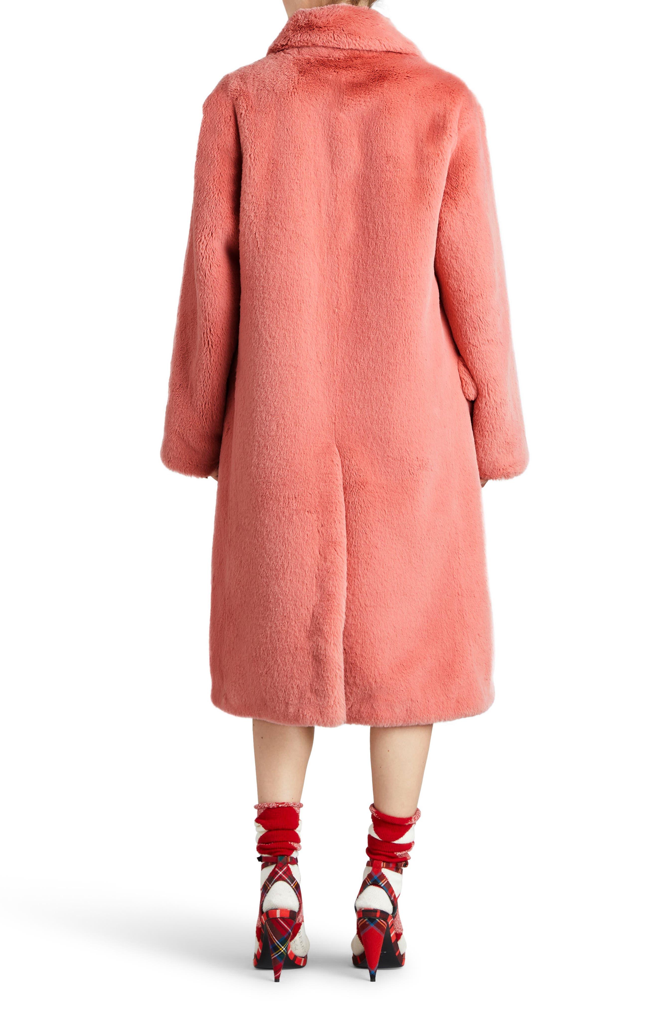 Faux Fur Coat,                             Alternate thumbnail 2, color,                             Pale Pink