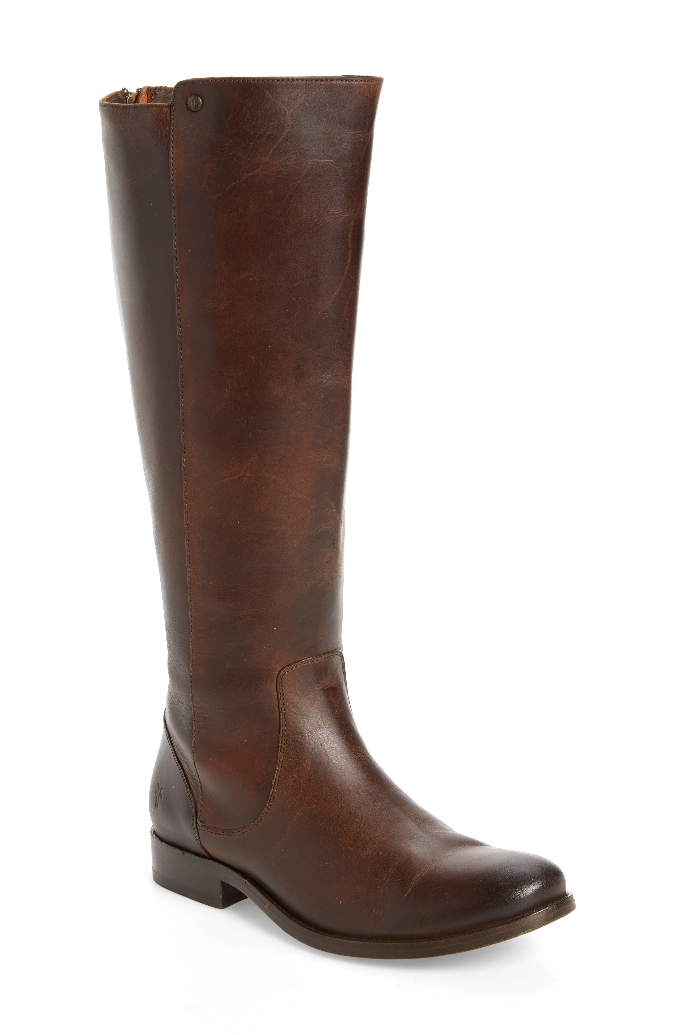 Melissa Stud Knee High Boot,                             Main thumbnail 1, color,                             Chocolate Leather