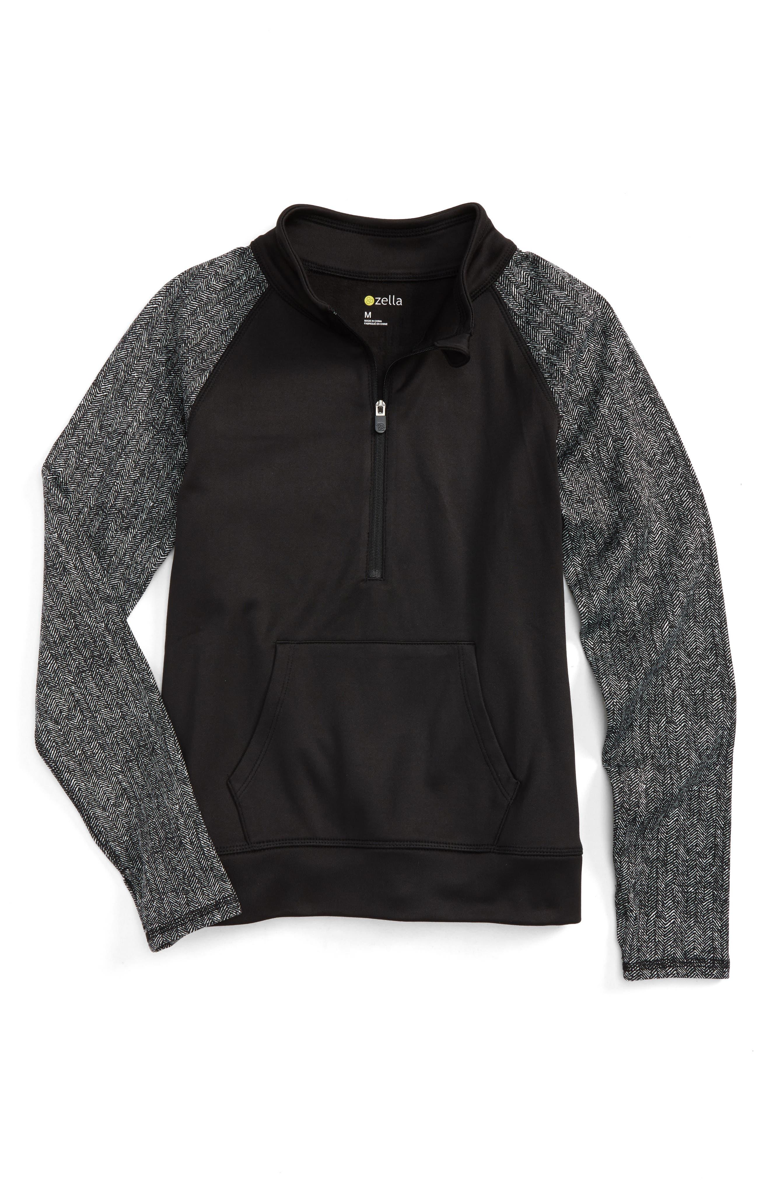 Flex Tech Quarter Zip Pullover,                         Main,                         color, Black- White Herringbone