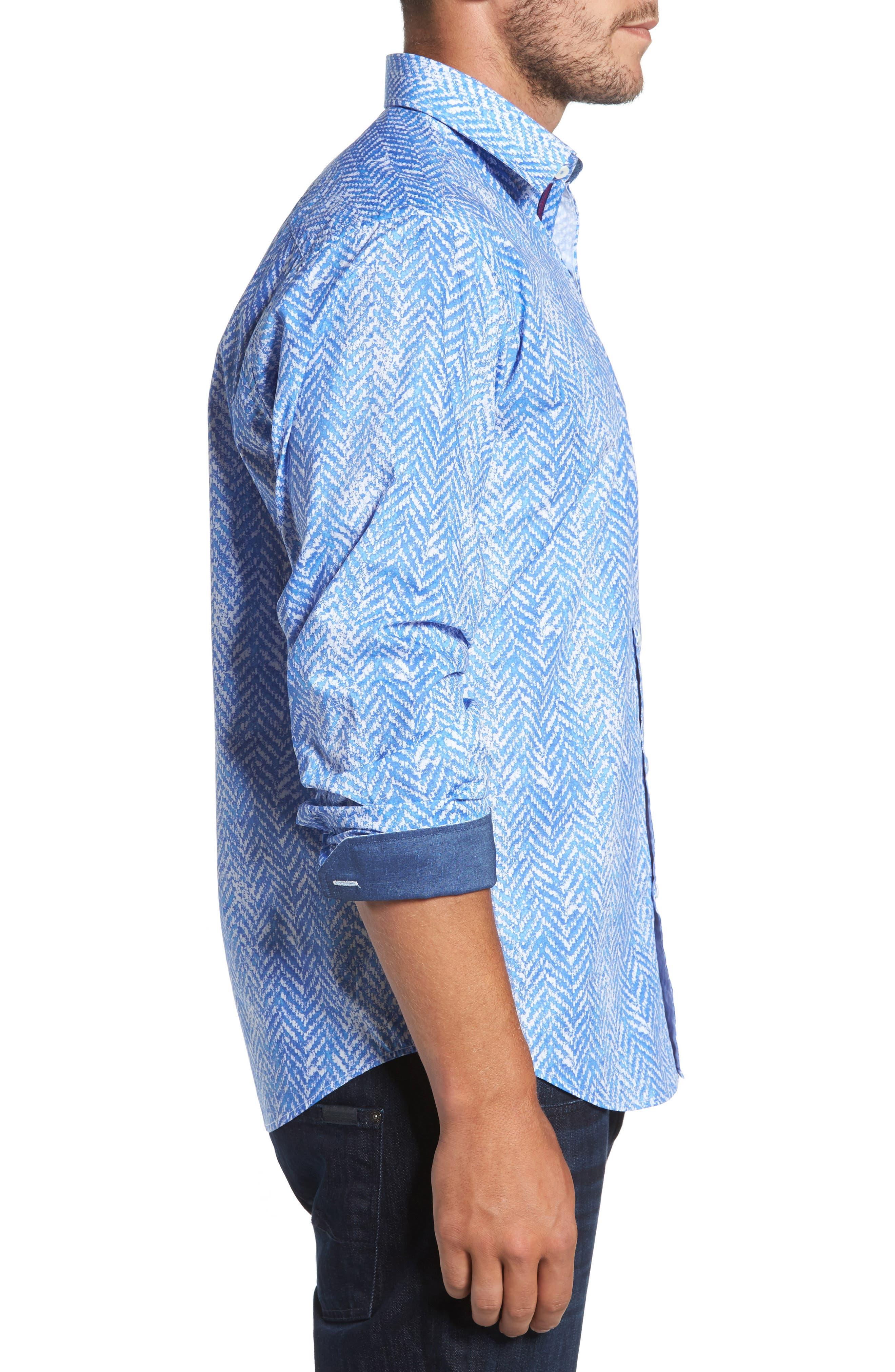 Classic Fit Herringbone Print Sport Shirt,                             Alternate thumbnail 3, color,                             Air Blue