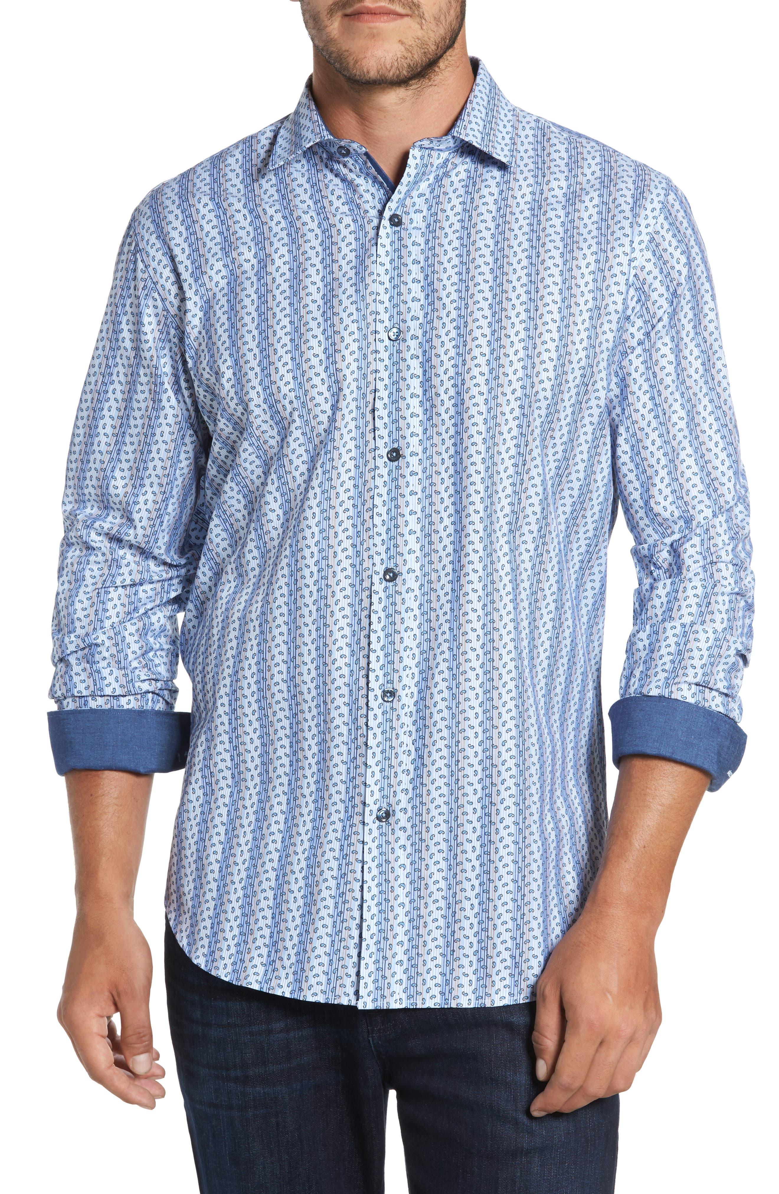 Classic Fit Paisley Striped Sport Shirt,                         Main,                         color, Classic Blue