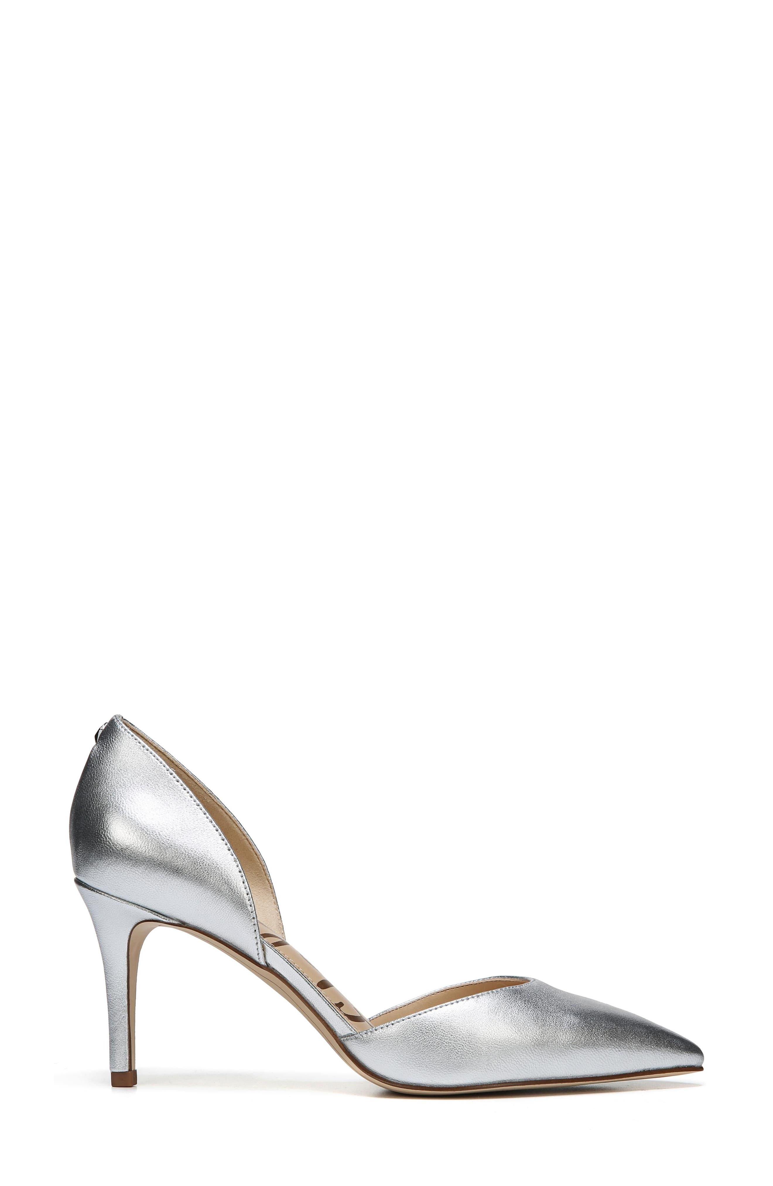 'Telsa' d'Orsay Pointy Toe Pump,                             Alternate thumbnail 3, color,                             Soft Silver Leather