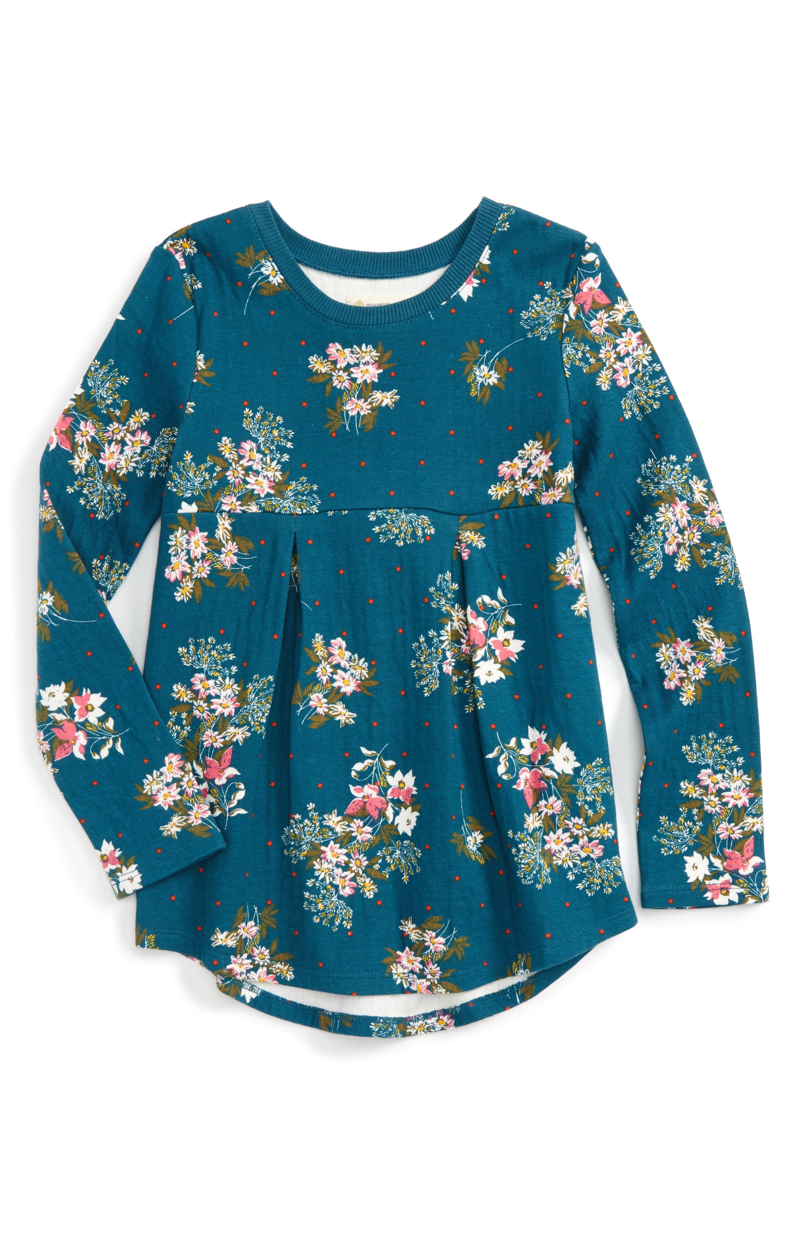 Main Image - Tucker + Tate Floral Print Double Knit Tunic (Toddler Girls, Little Girls & Big Girls)