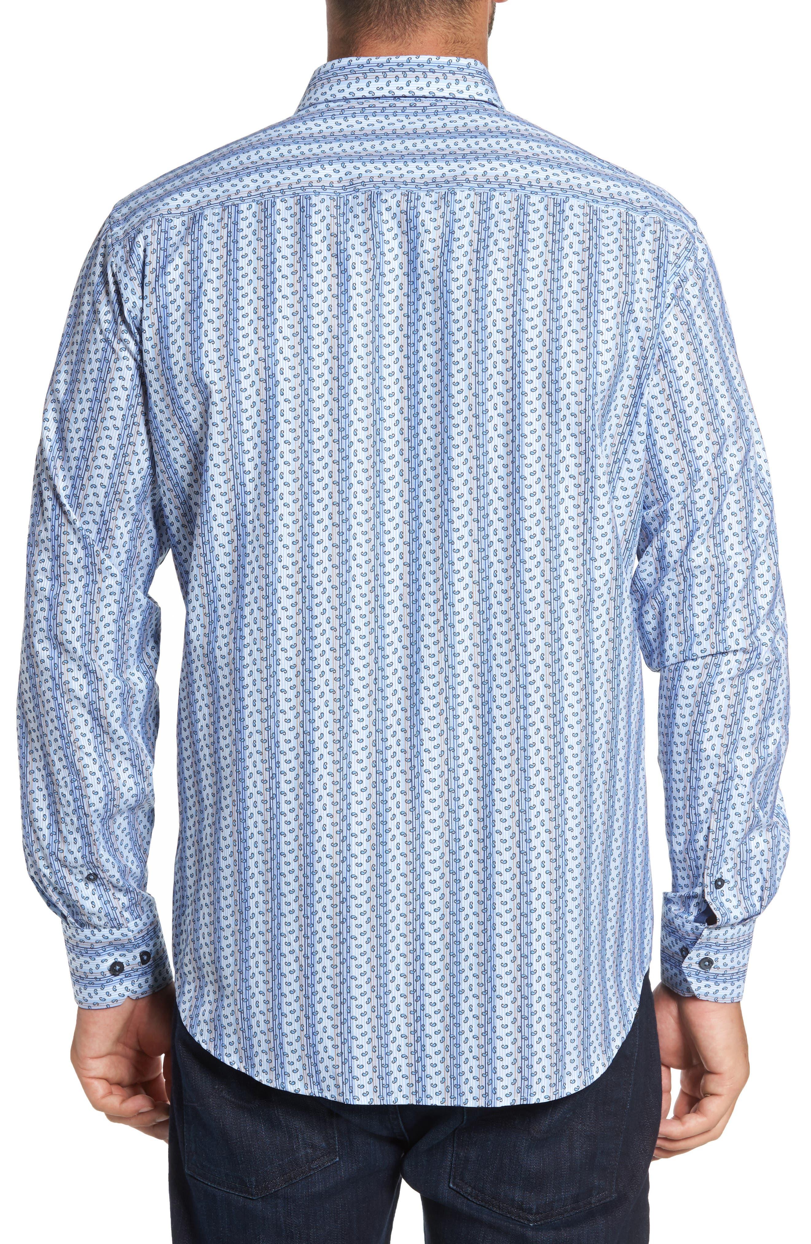 Classic Fit Paisley Striped Sport Shirt,                             Alternate thumbnail 2, color,                             Classic Blue